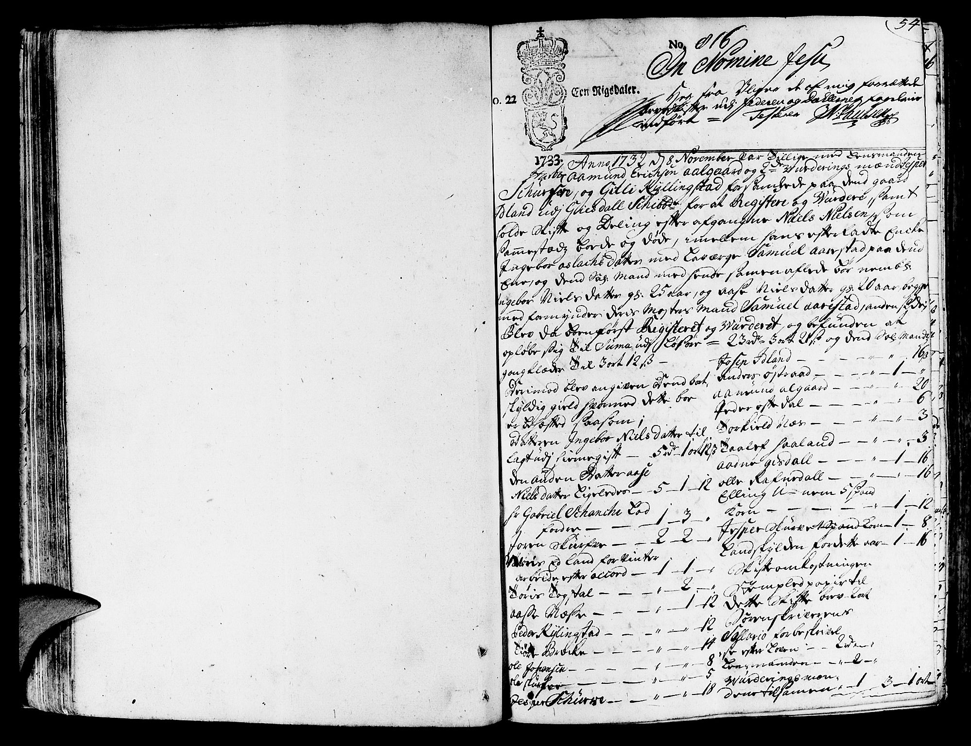 SAST, Jæren og Dalane sorenskriveri, 5/50BA/L0006B: SKIFTEPROTOKOLL, 1722-1739, s. 53b-54a
