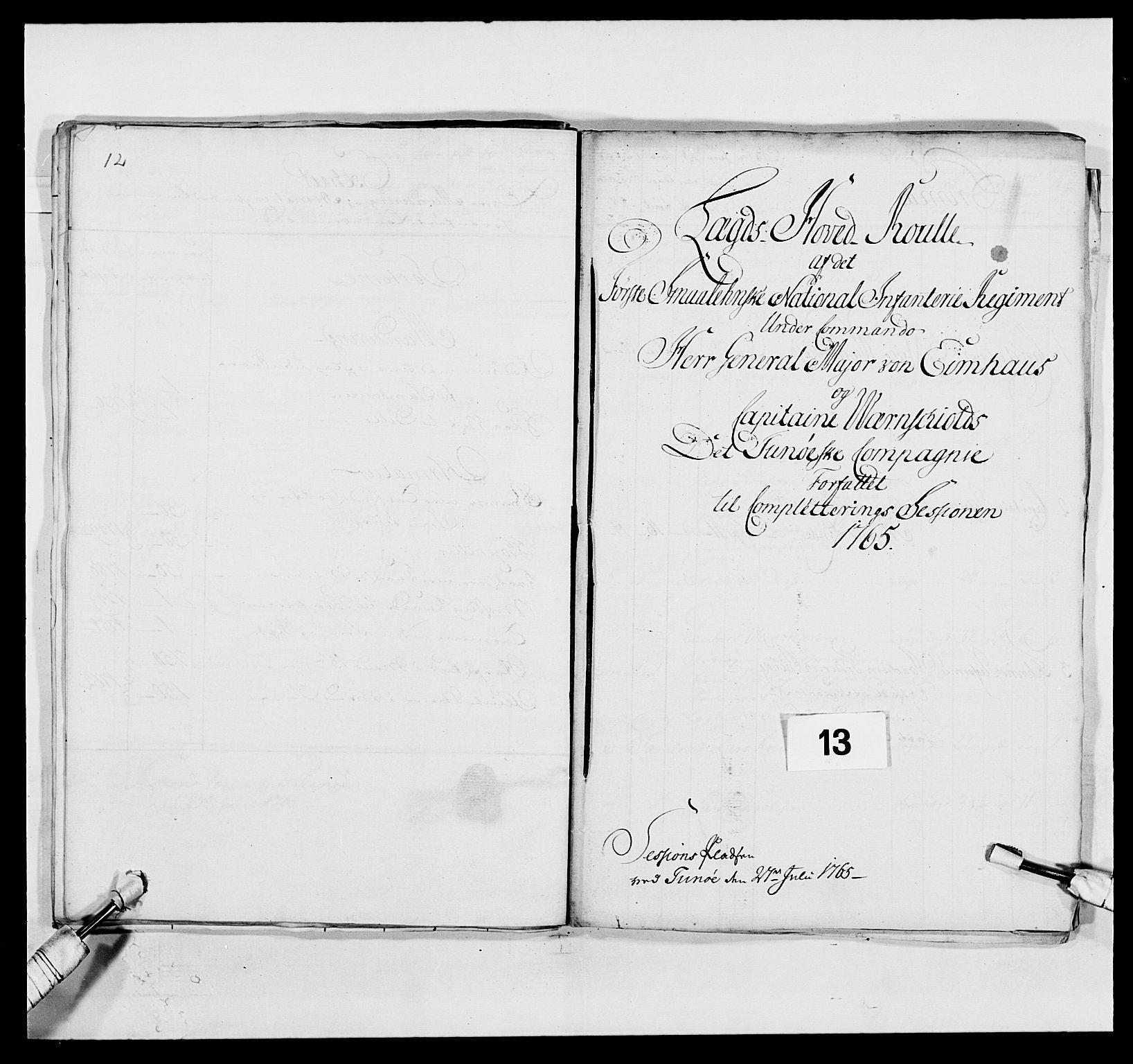 RA, Kommanderende general (KG I) med Det norske krigsdirektorium, E/Ea/L0496: 1. Smålenske regiment, 1765-1767, s. 94