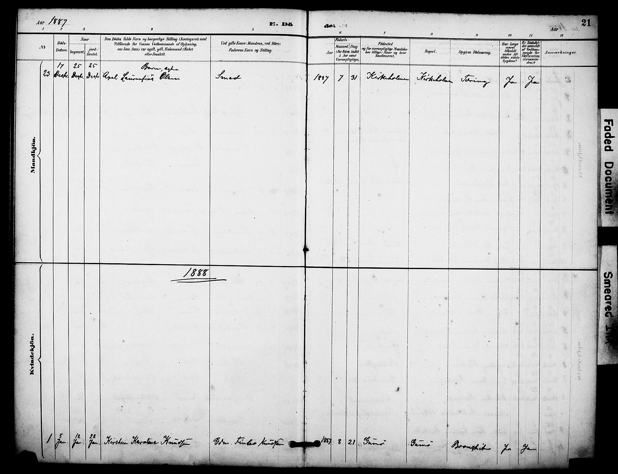SAKO, Skåtøy kirkebøker, F/Fa/L0004: Ministerialbok nr. I 4, 1884-1900, s. 21