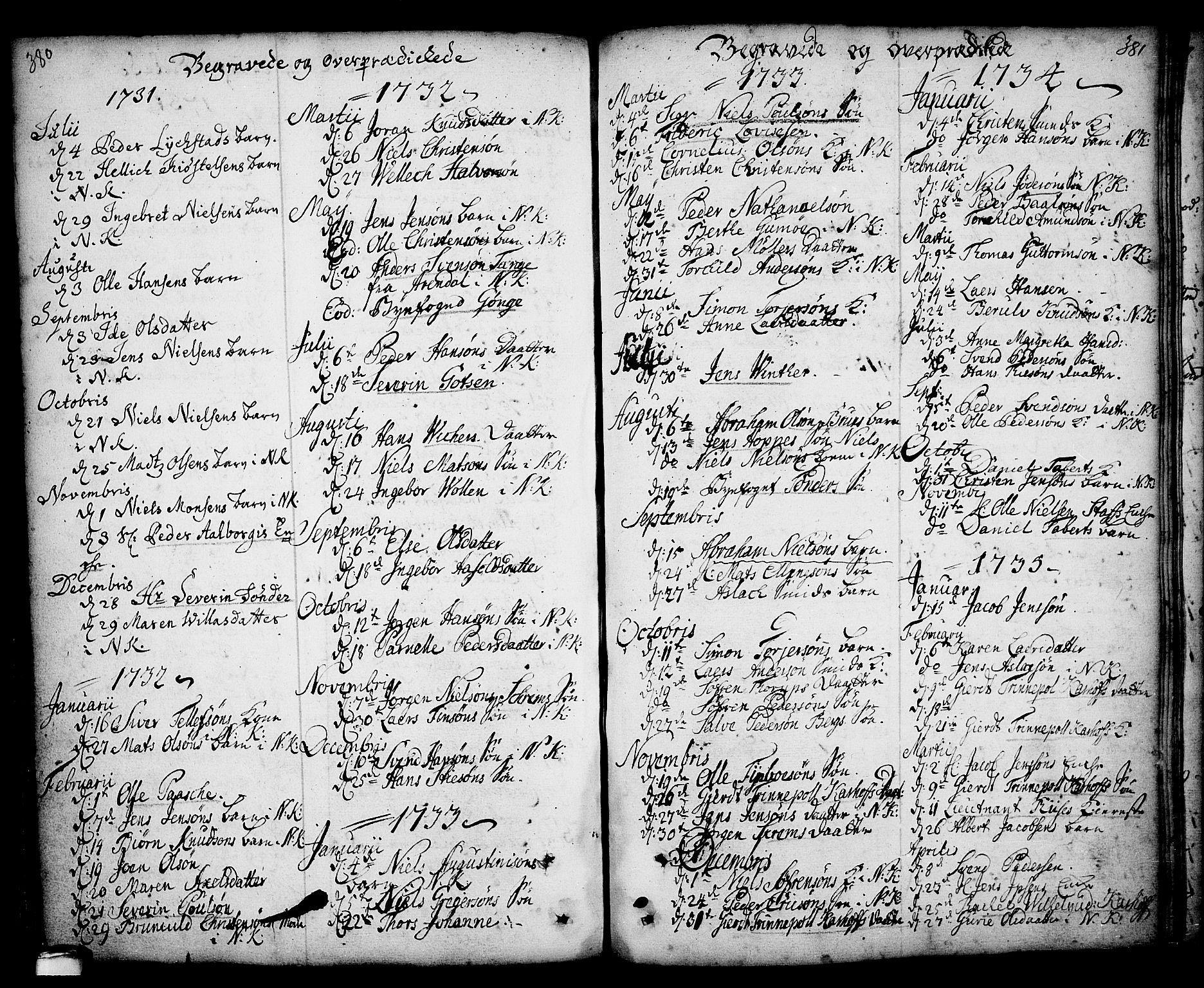 SAKO, Kragerø kirkebøker, F/Fa/L0001: Ministerialbok nr. 1, 1702-1766, s. 380-381