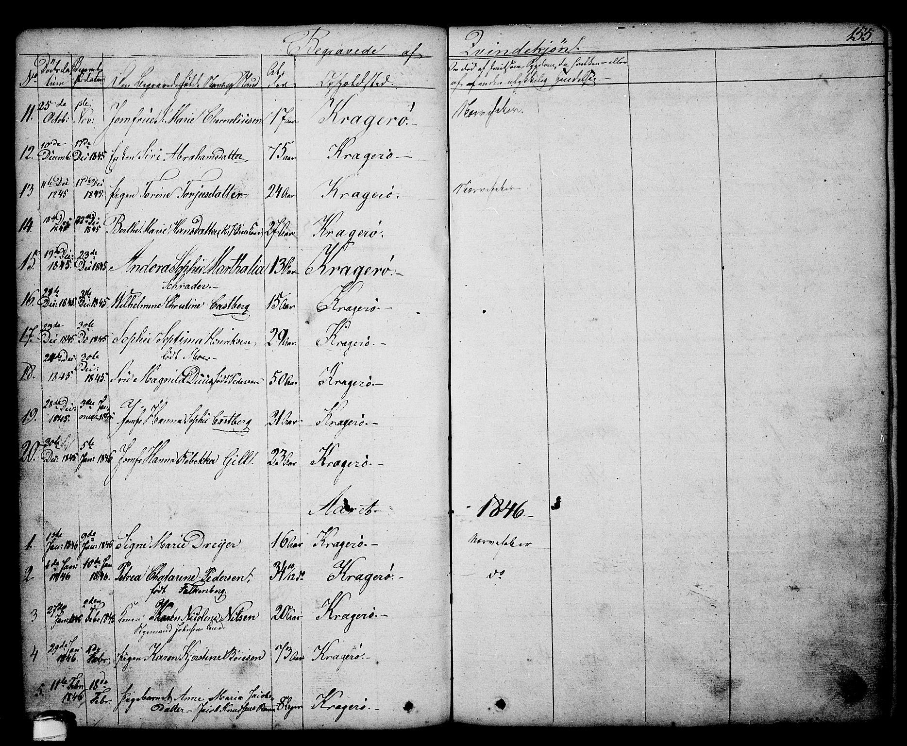SAKO, Kragerø kirkebøker, G/Ga/L0003: Klokkerbok nr. 3, 1832-1852, s. 155