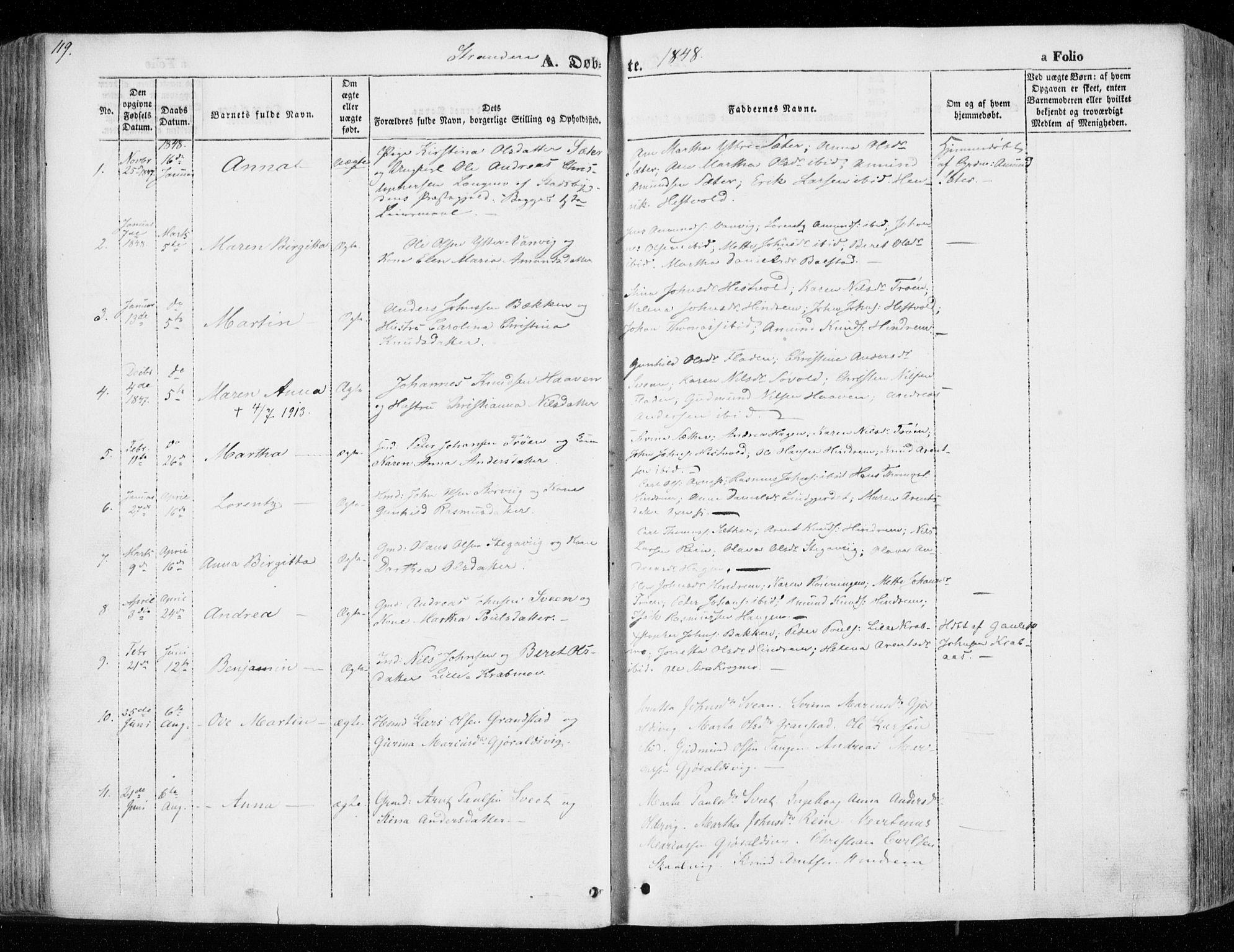 SAT, Ministerialprotokoller, klokkerbøker og fødselsregistre - Nord-Trøndelag, 701/L0007: Ministerialbok nr. 701A07 /2, 1842-1854, s. 119