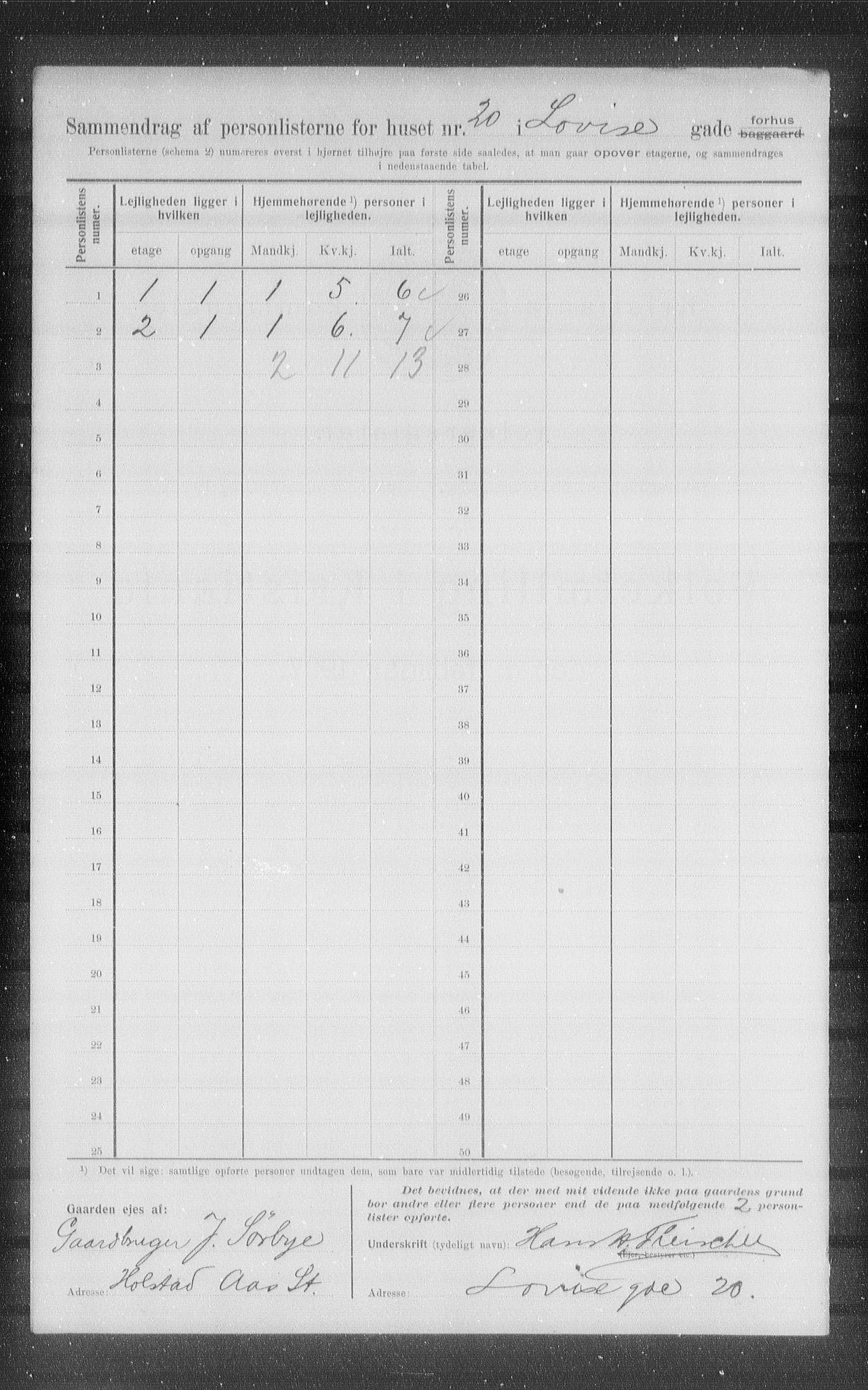 OBA, Kommunal folketelling 1907 for Kristiania kjøpstad, 1907, s. 29848