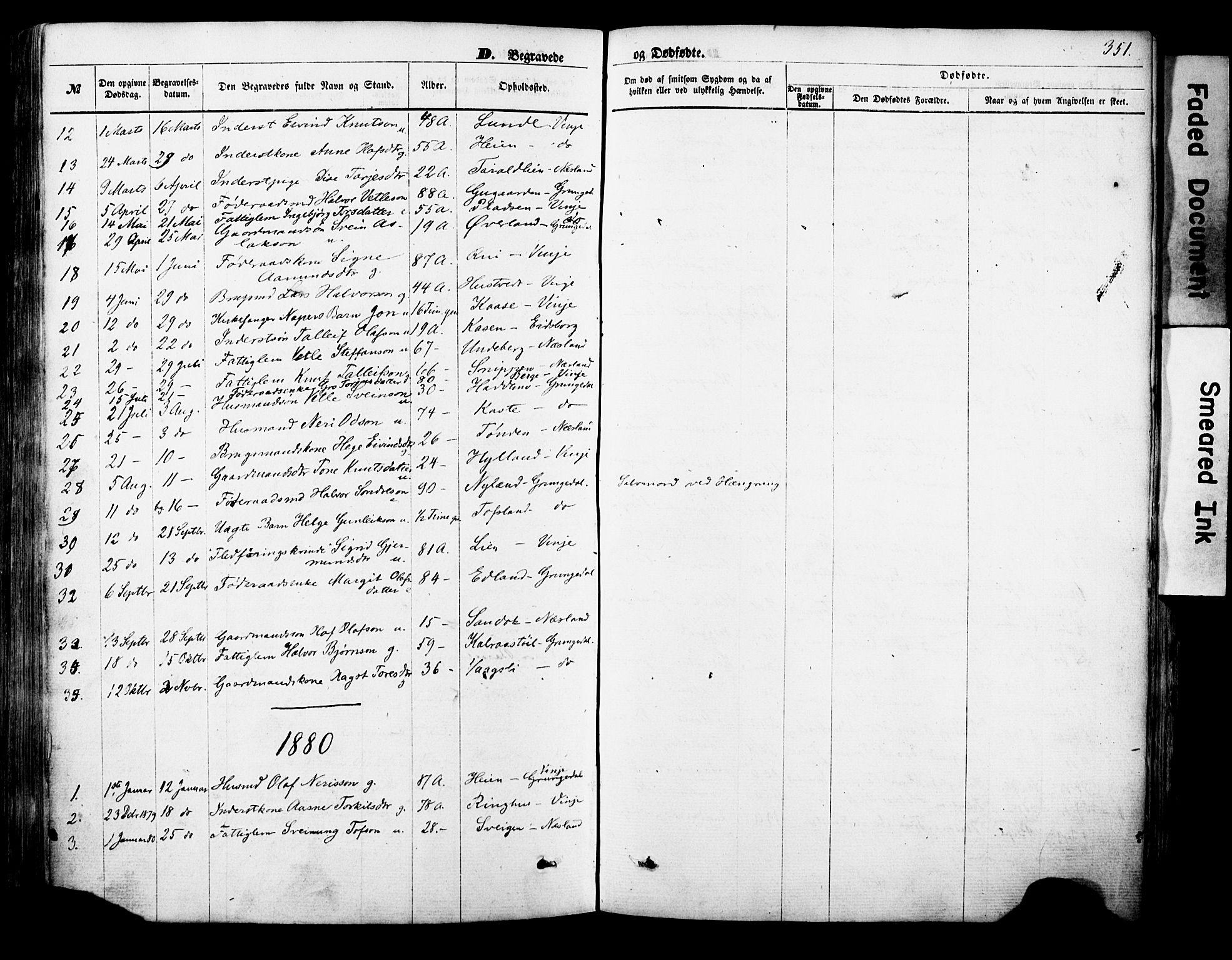 SAKO, Vinje kirkebøker, F/Fa/L0005: Ministerialbok nr. I 5, 1870-1886, s. 351