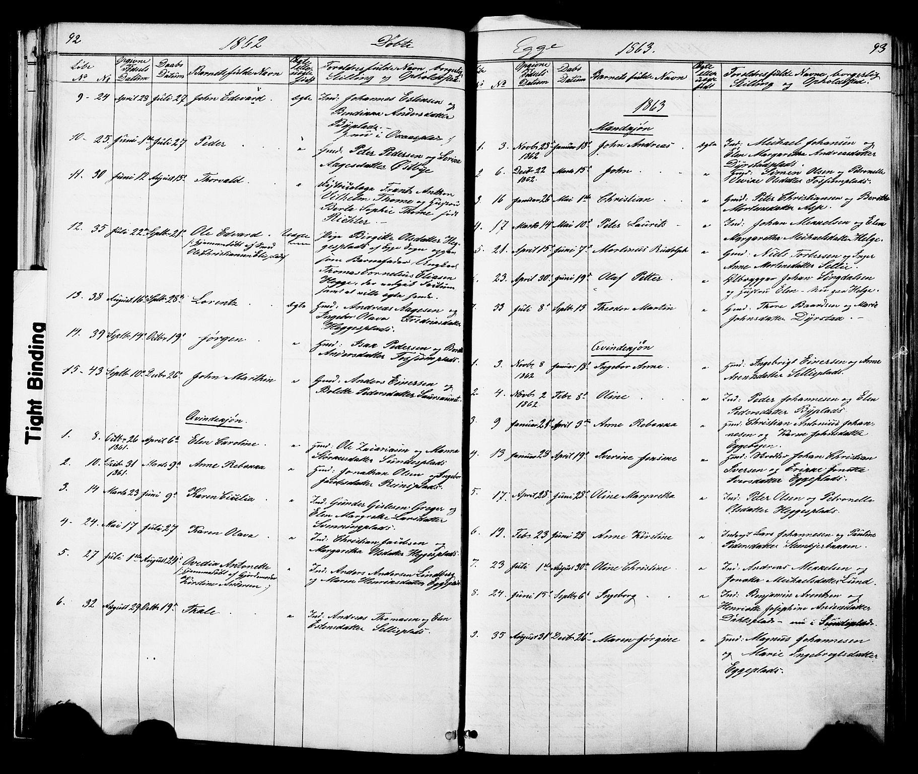 SAT, Ministerialprotokoller, klokkerbøker og fødselsregistre - Nord-Trøndelag, 739/L0367: Ministerialbok nr. 739A01 /3, 1838-1868, s. 92-93