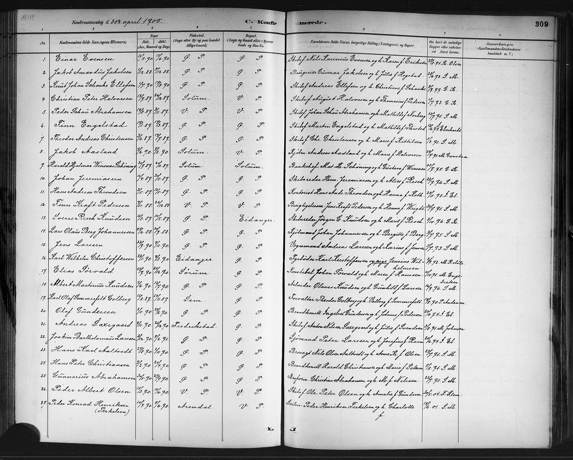 SAKO, Porsgrunn kirkebøker , G/Gb/L0005: Klokkerbok nr. II 5, 1883-1915, s. 309