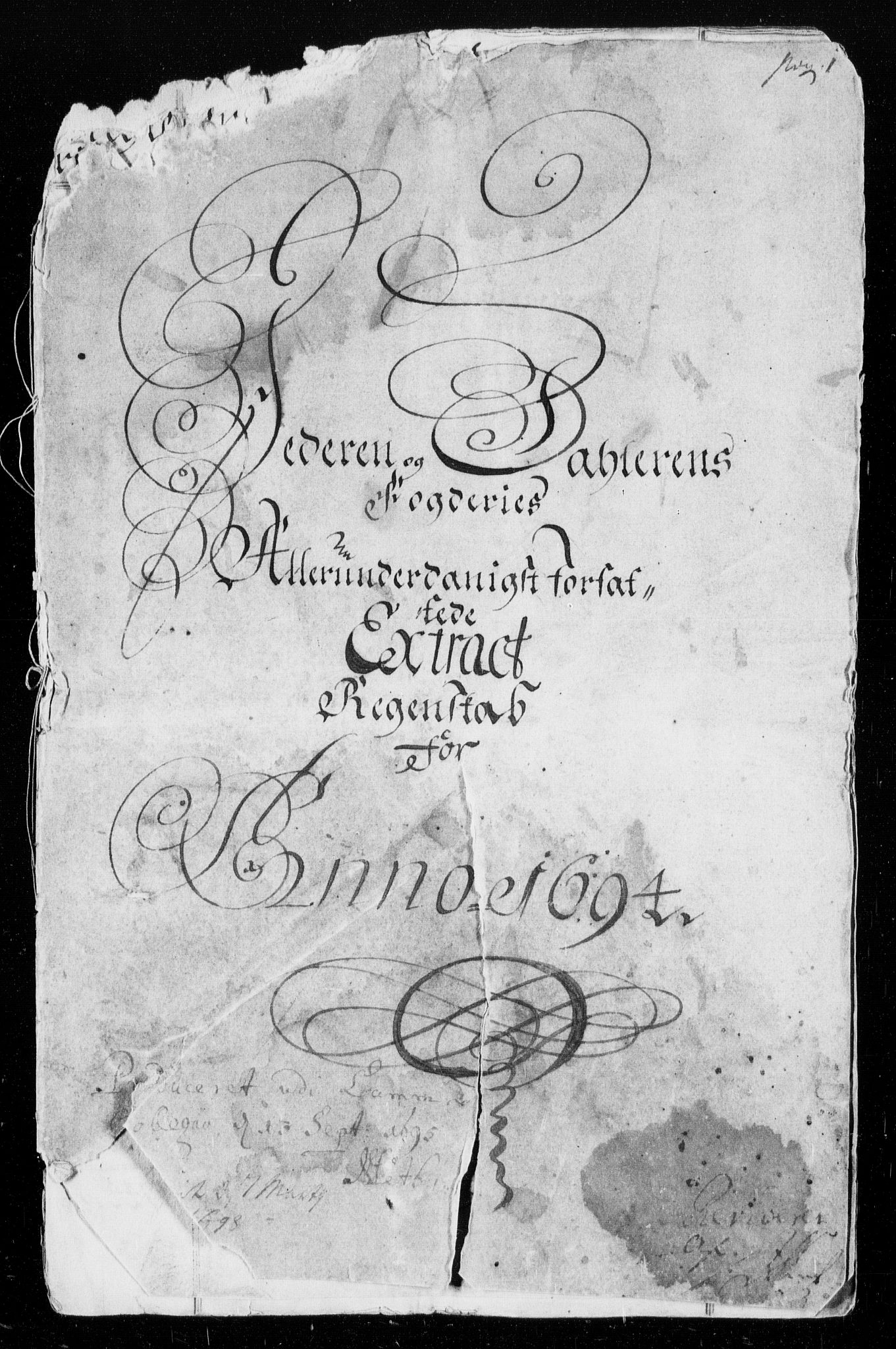 RA, Rentekammeret inntil 1814, Reviderte regnskaper, Fogderegnskap, R46/L2728: Fogderegnskap Jæren og Dalane, 1694-1696, s. 1