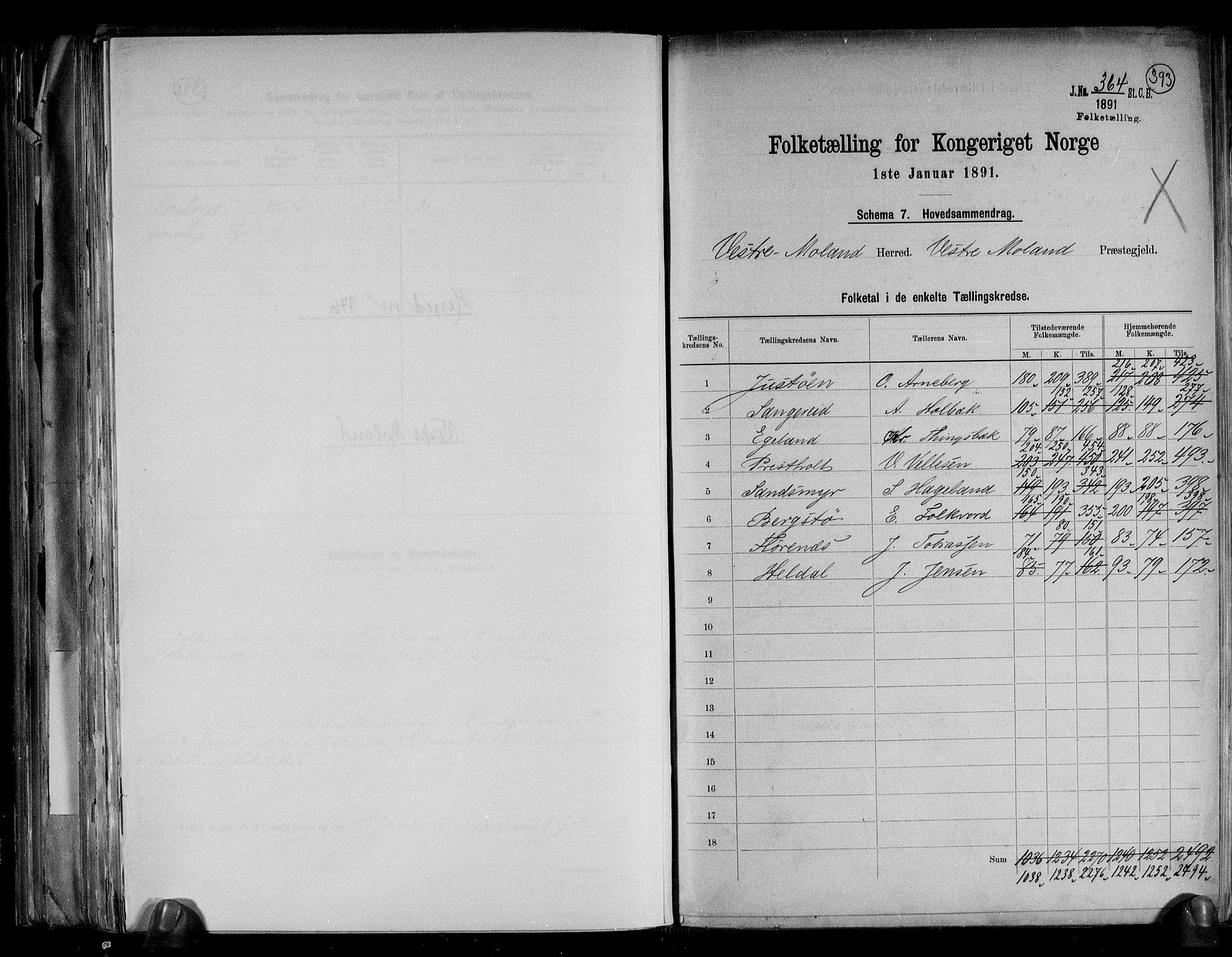 RA, Folketelling 1891 for 0926 Vestre Moland herred, 1891, s. 2