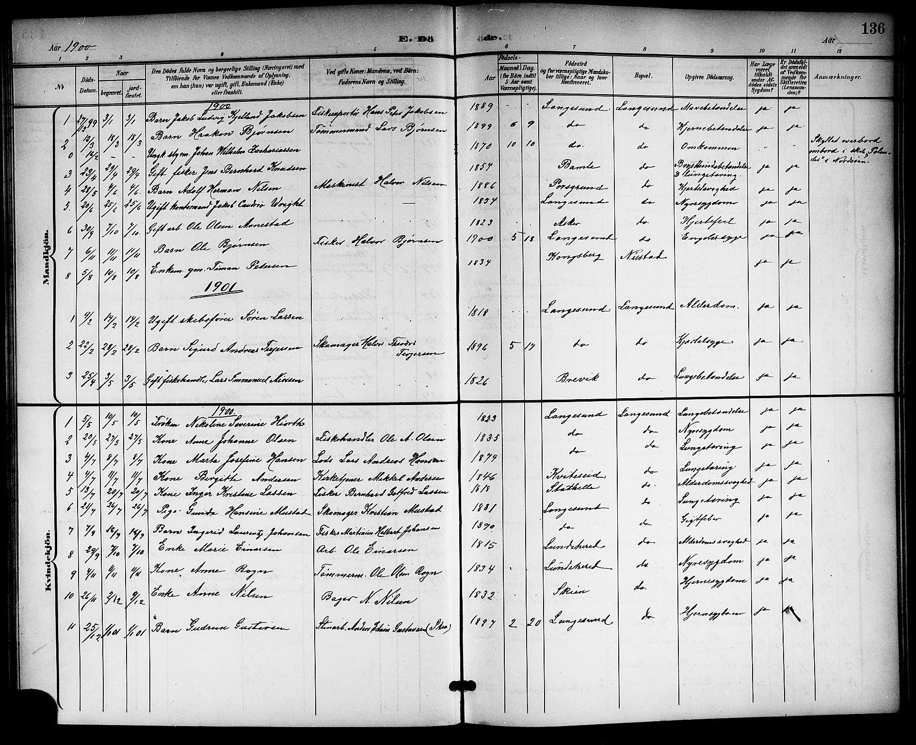 SAKO, Langesund kirkebøker, G/Ga/L0006: Klokkerbok nr. 6, 1899-1918, s. 136