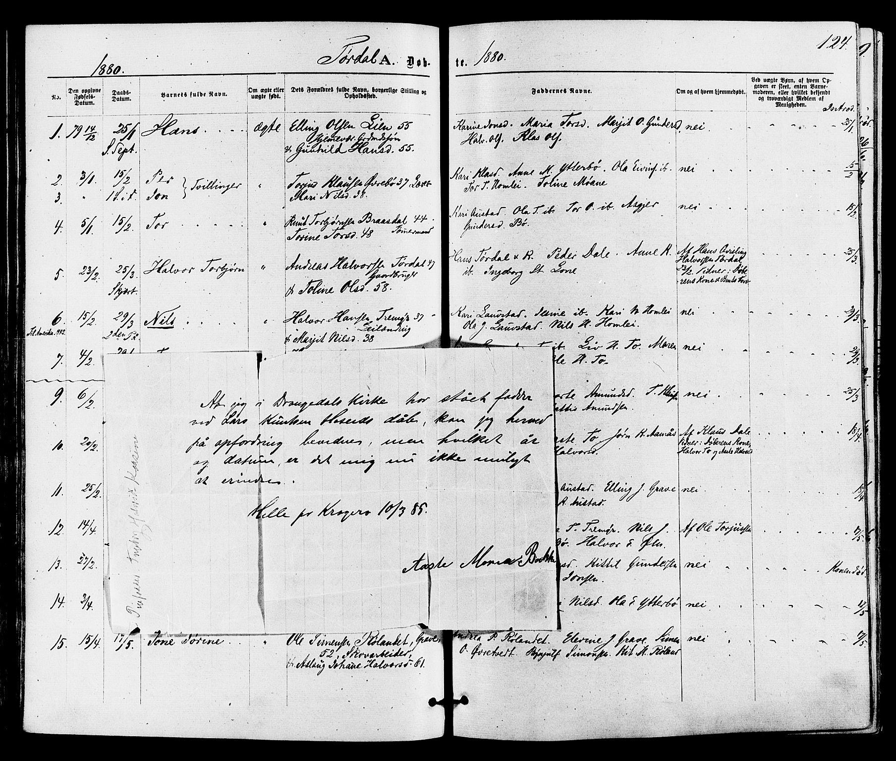 SAKO, Drangedal kirkebøker, F/Fa/L0009: Ministerialbok nr. 9 /2, 1872-1884, s. 124