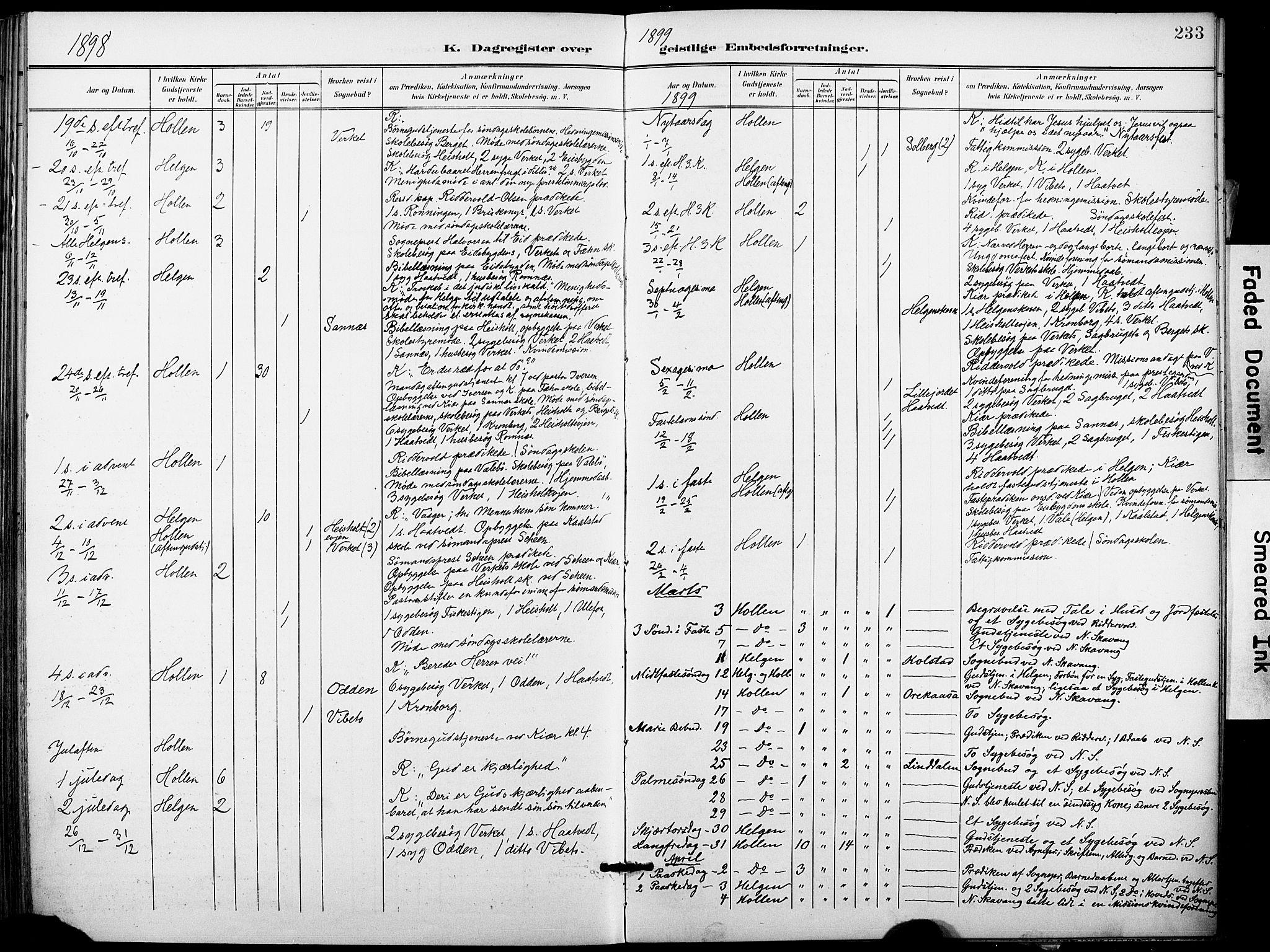 SAKO, Holla kirkebøker, F/Fa/L0010: Ministerialbok nr. 10, 1897-1907, s. 233