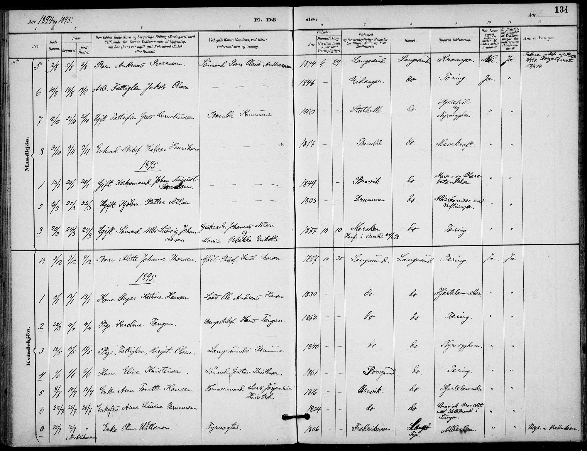 SAKO, Langesund kirkebøker, F/Fa/L0003: Ministerialbok nr. 3, 1893-1907, s. 134