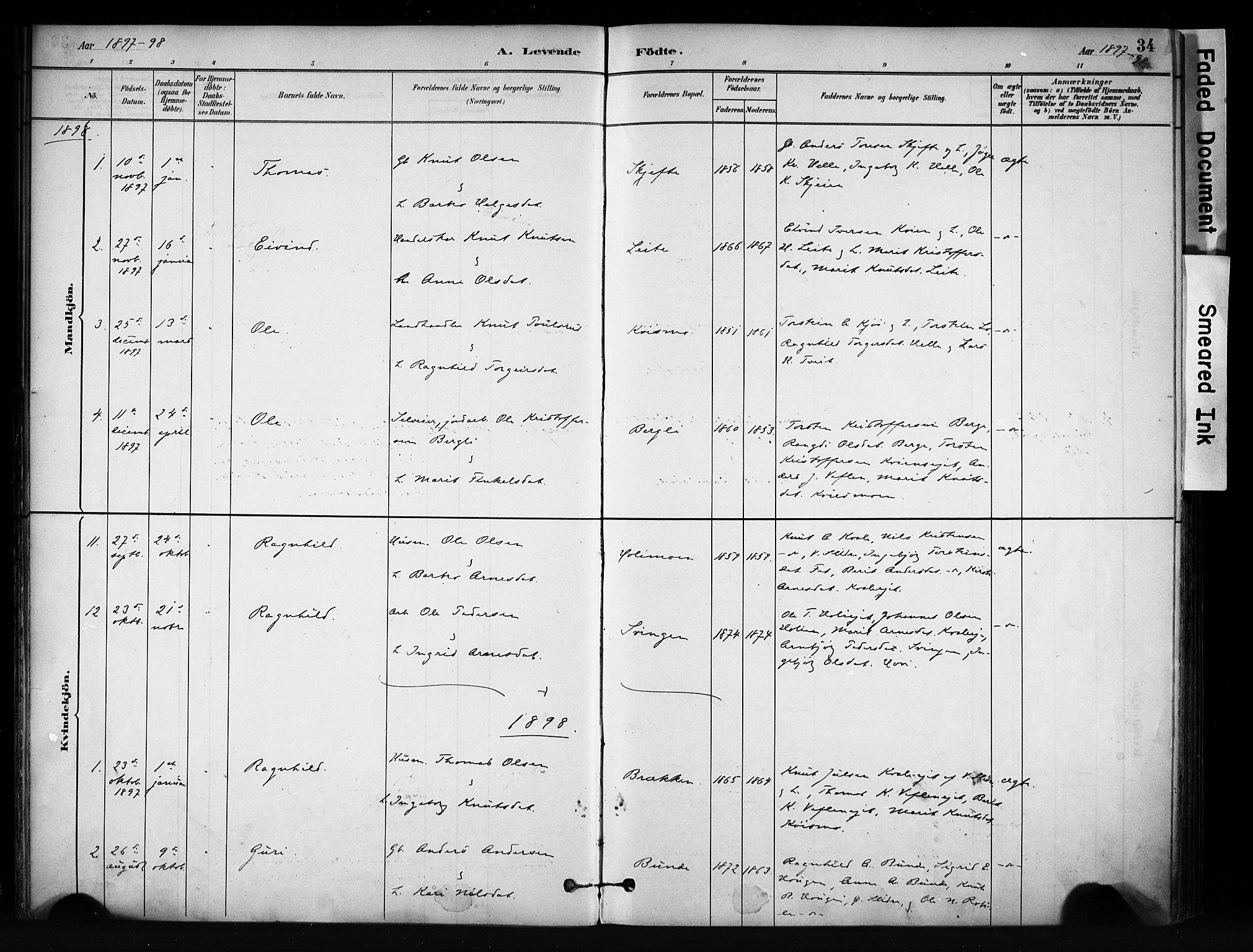 SAH, Vang prestekontor, Valdres, Ministerialbok nr. 9, 1882-1914, s. 34