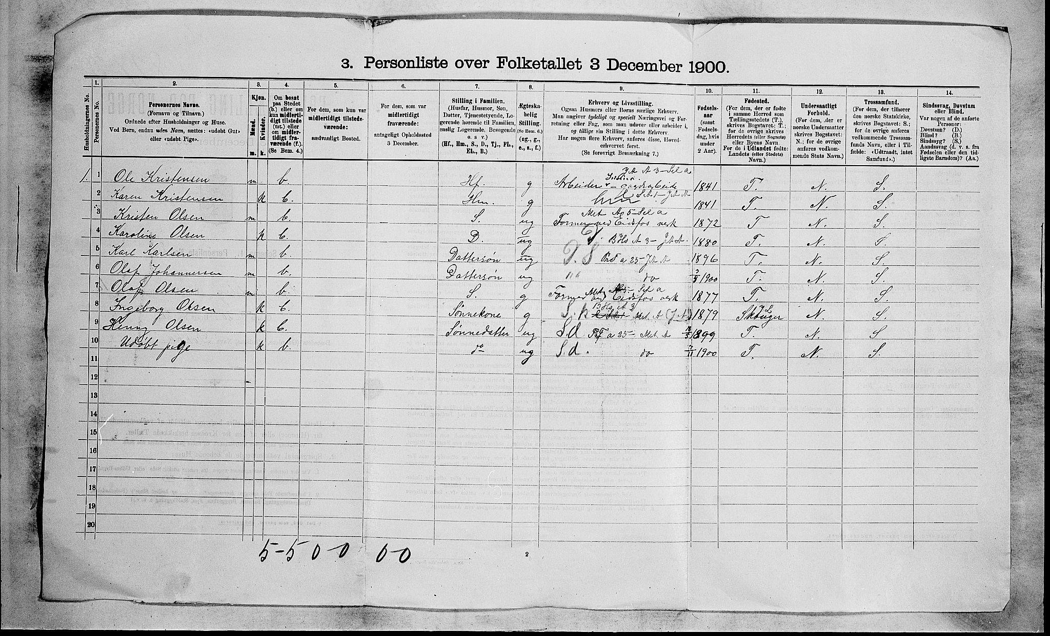RA, Folketelling 1900 for 0714 Hof herred, 1900, s. 21