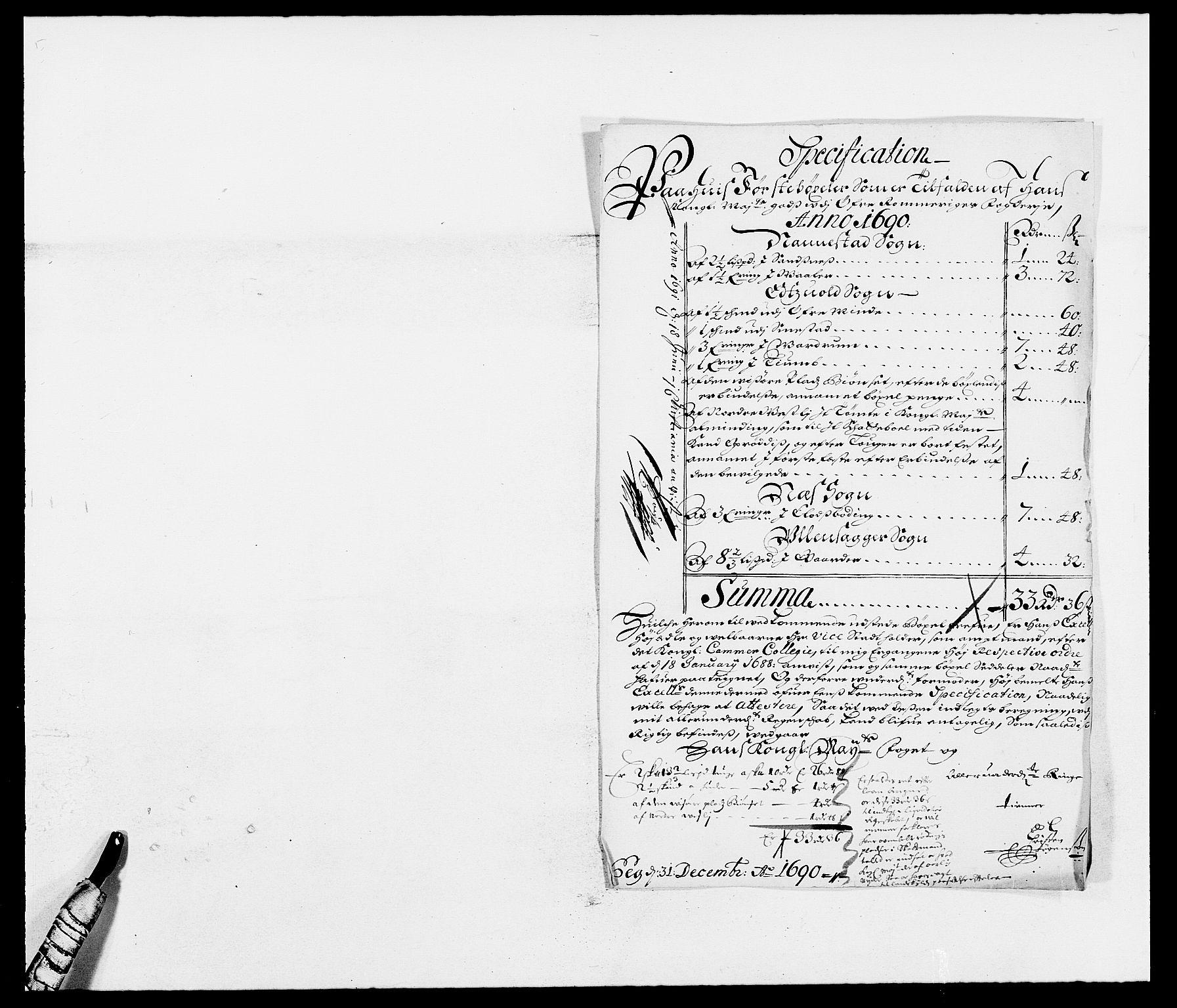 RA, Rentekammeret inntil 1814, Reviderte regnskaper, Fogderegnskap, R12/L0702: Fogderegnskap Øvre Romerike, 1690, s. 21