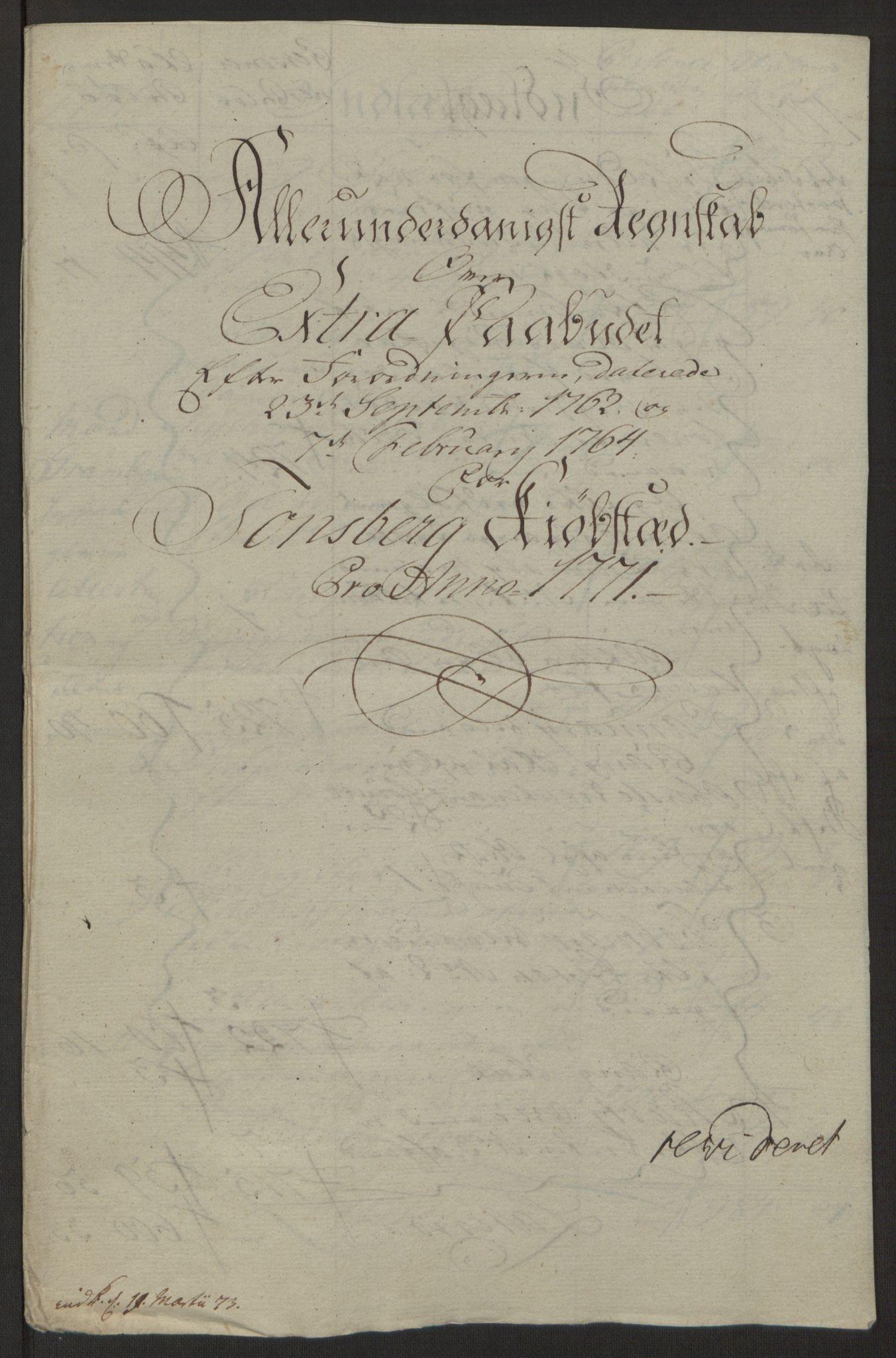 RA, Rentekammeret inntil 1814, Reviderte regnskaper, Byregnskaper, R/Rh/L0162: [H4] Kontribusjonsregnskap, 1762-1772, s. 389