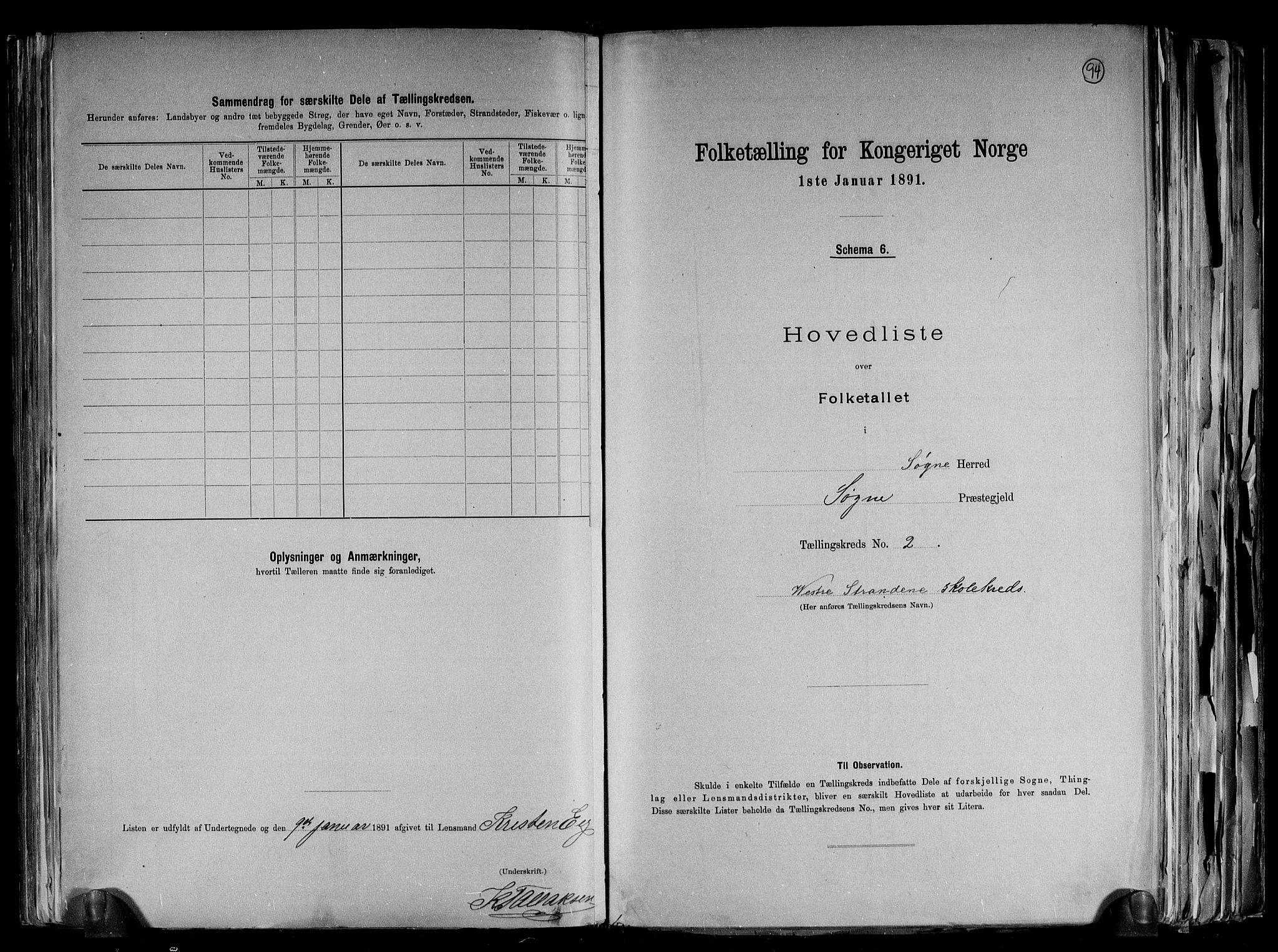 RA, Folketelling 1891 for 1018 Søgne herred, 1891, s. 9