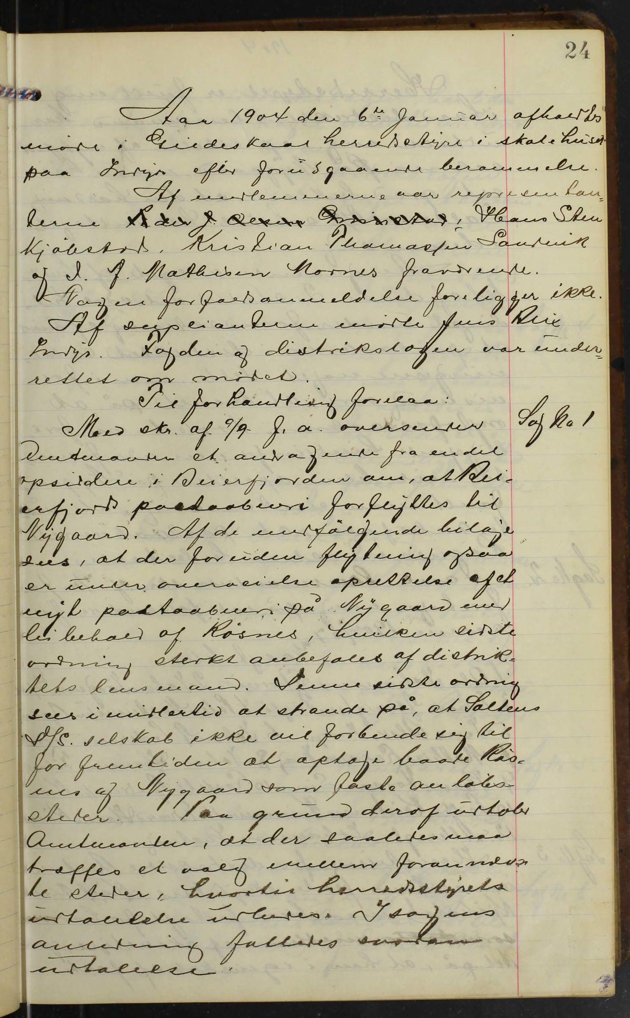 AIN, Gildeskål kommune. Formannskapet, 100/L0003: Møtebok formannskapet, 1904-1914, s. 24
