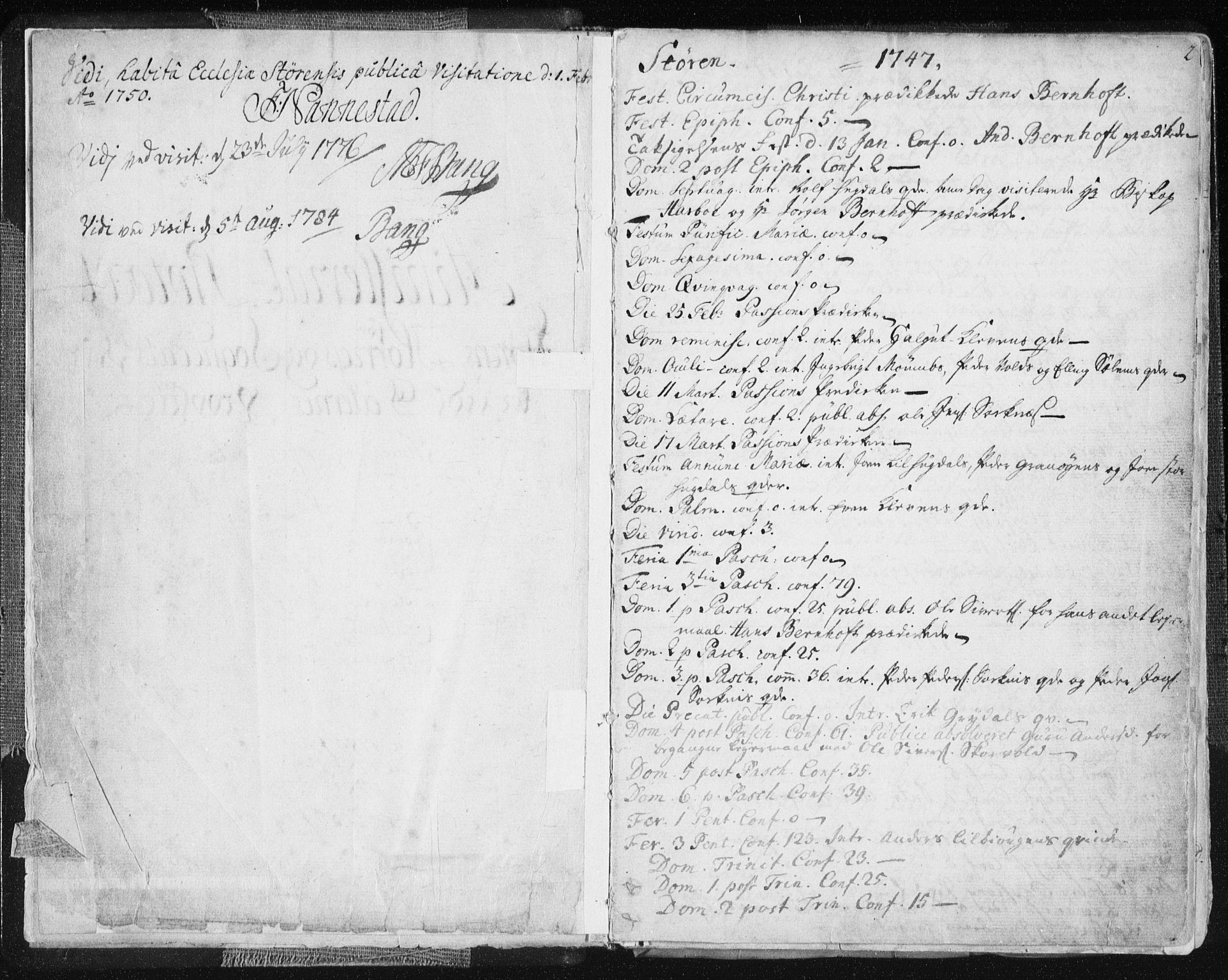SAT, Ministerialprotokoller, klokkerbøker og fødselsregistre - Sør-Trøndelag, 687/L0991: Ministerialbok nr. 687A02, 1747-1790, s. 2