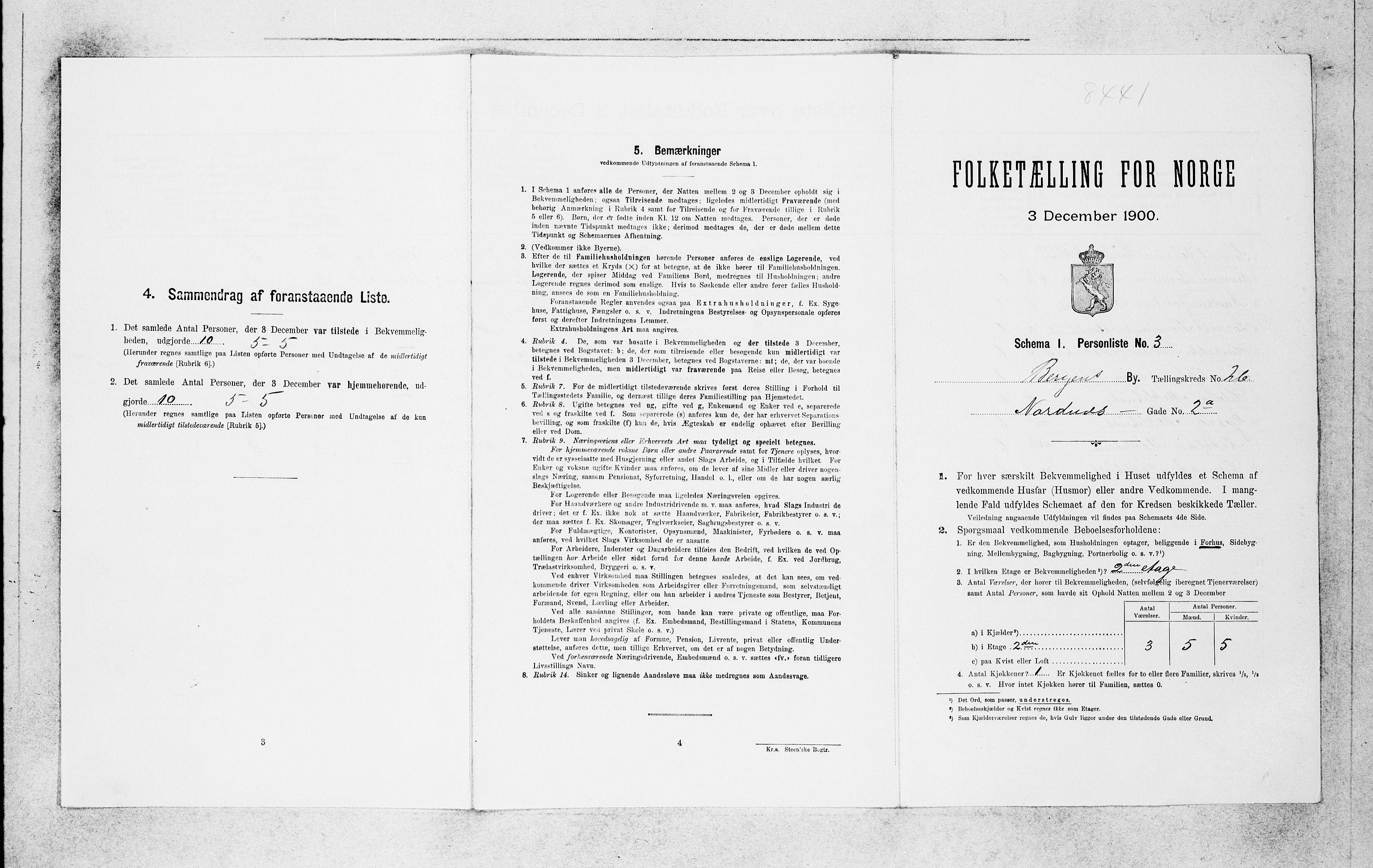 SAB, Folketelling 1900 for 1301 Bergen kjøpstad, 1900, s. 5516