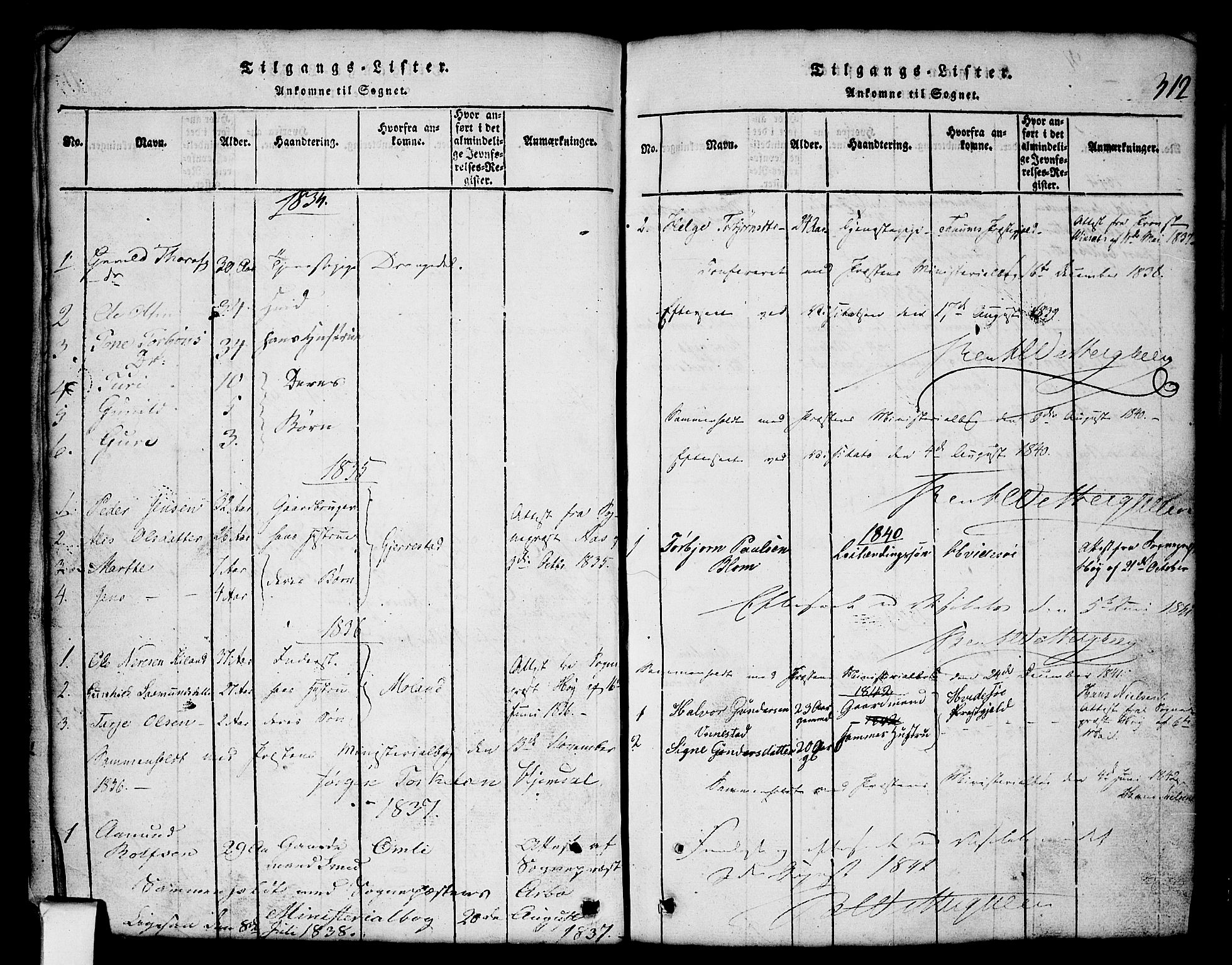 SAKO, Nissedal kirkebøker, G/Gb/L0001: Klokkerbok nr. II 1, 1814-1862, s. 312