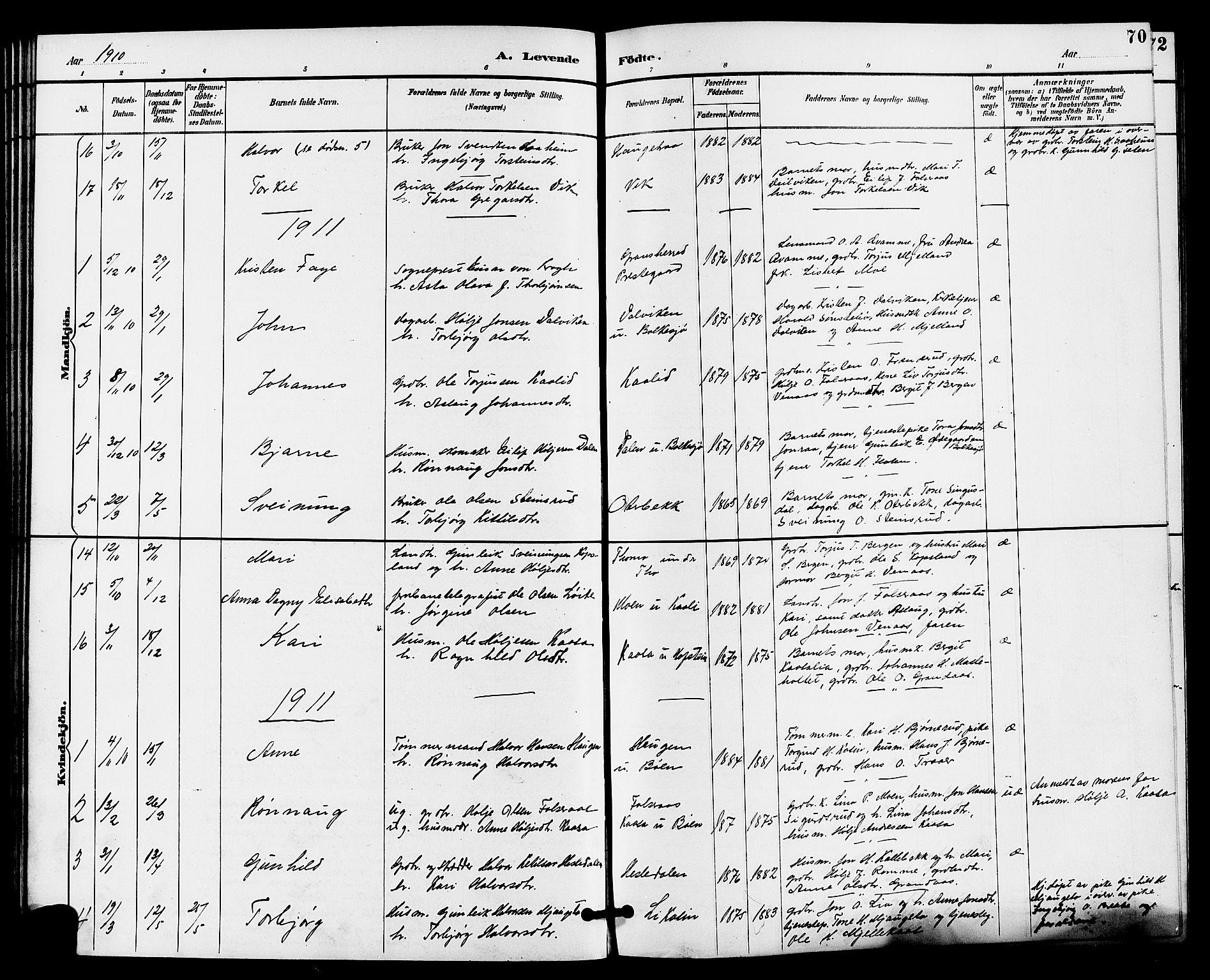 SAKO, Gransherad kirkebøker, G/Ga/L0003: Klokkerbok nr. I 3, 1887-1915, s. 70