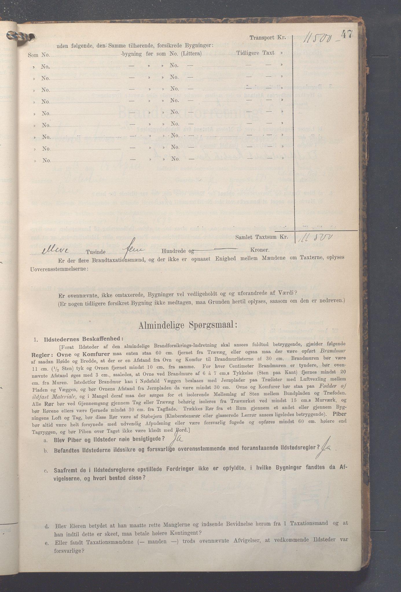 OBA, Lensmennene i Aker, F/Fa/L0014: Branntakstprotokoll, 1909-1921, s. 47