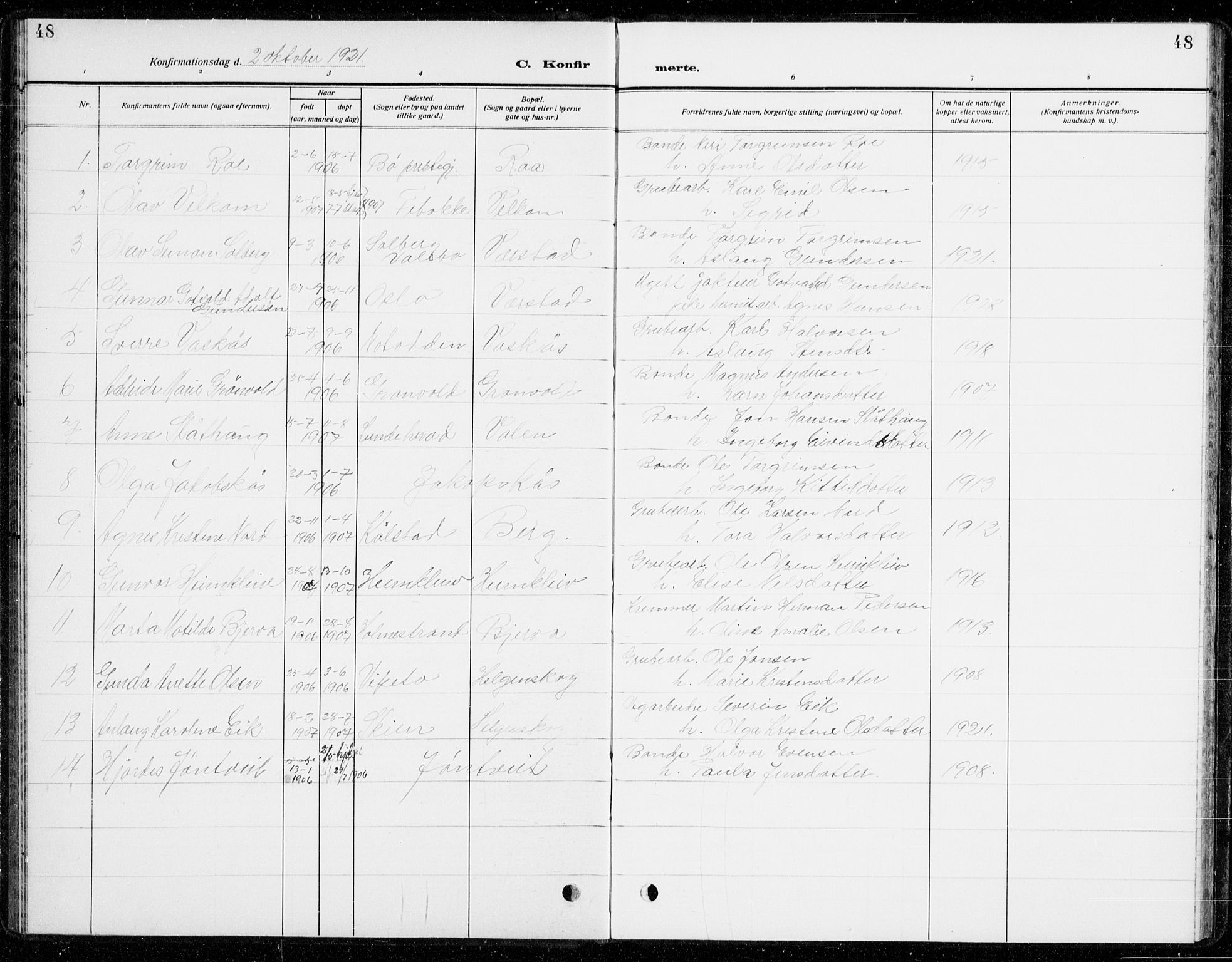 SAKO, Holla kirkebøker, G/Gb/L0003: Klokkerbok nr. II 3, 1914-1941, s. 48