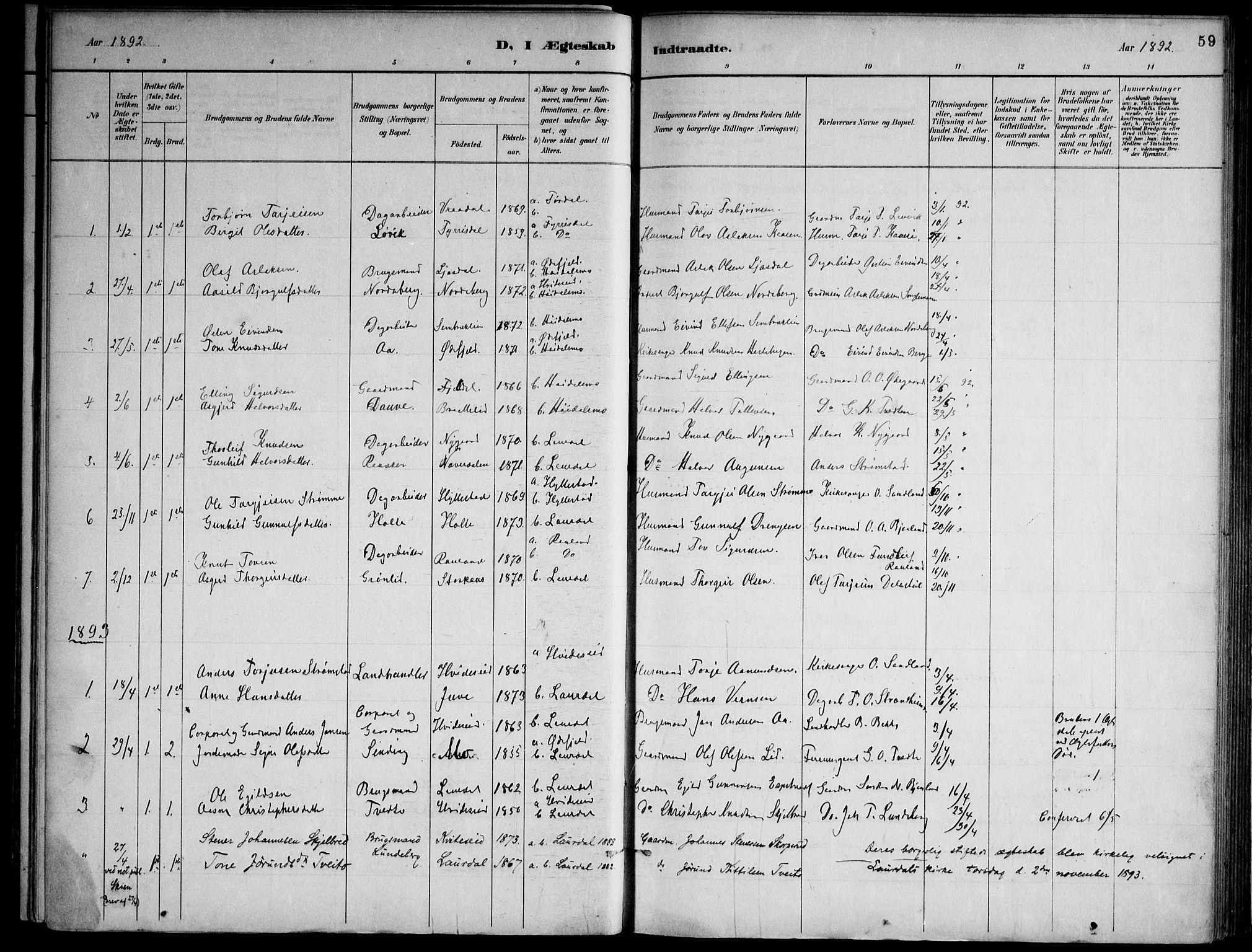 SAKO, Lårdal kirkebøker, F/Fa/L0007: Ministerialbok nr. I 7, 1887-1906, s. 59
