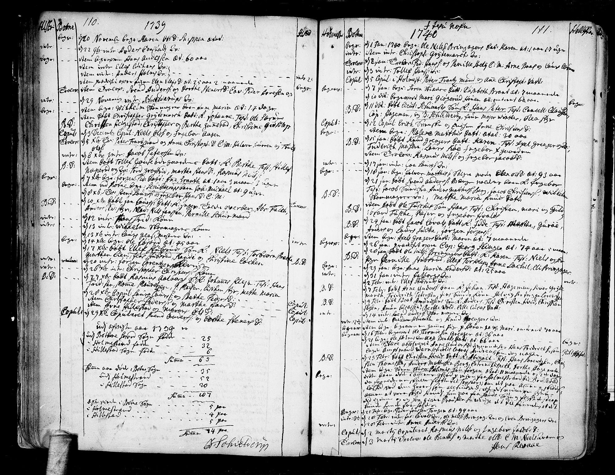 SAKO, Botne kirkebøker, F/Fa/L0001a: Ministerialbok nr. I 1A, 1707-1778, s. 110-111