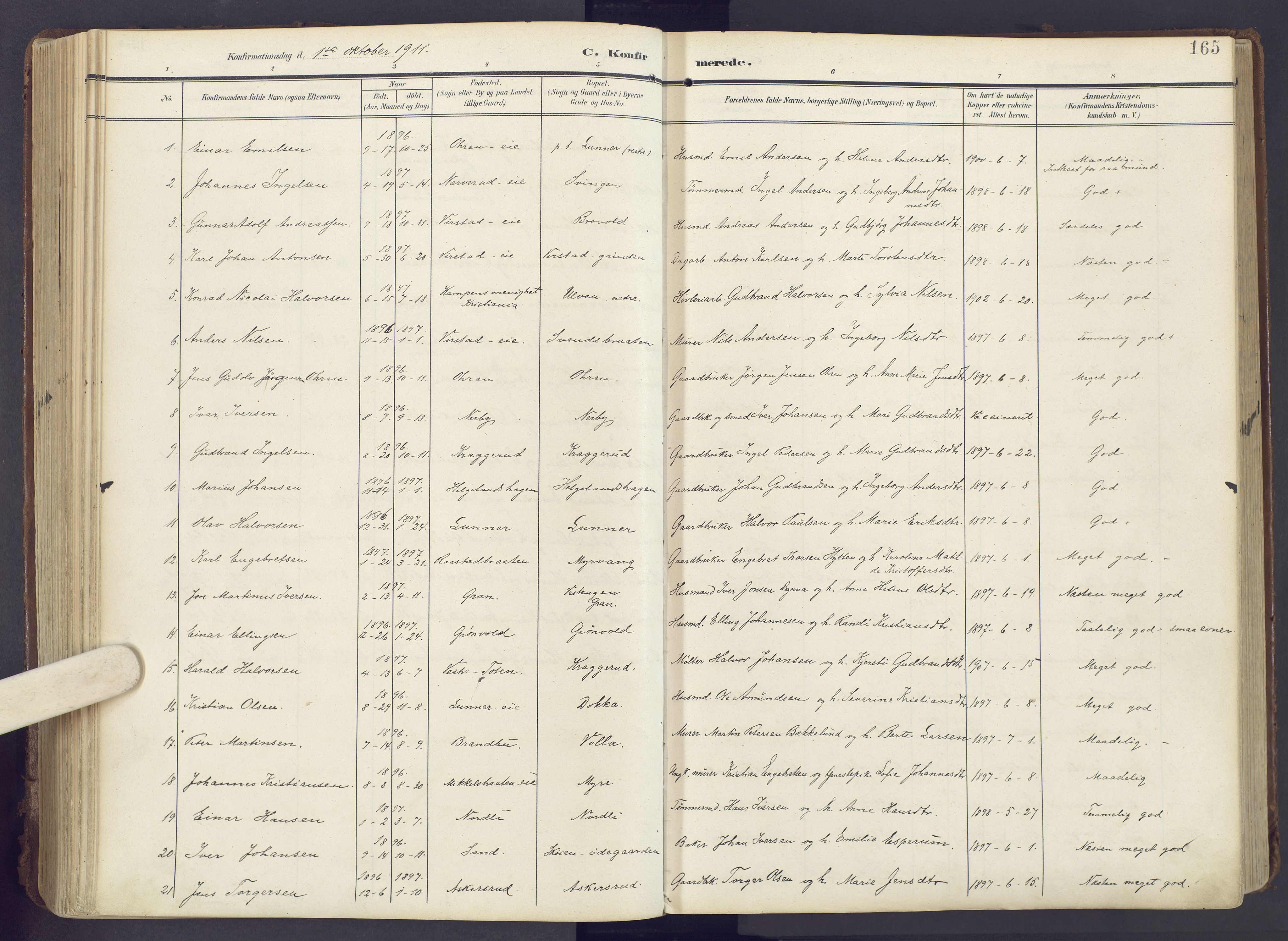 SAH, Lunner prestekontor, H/Ha/Haa/L0001: Ministerialbok nr. 1, 1907-1922, s. 165