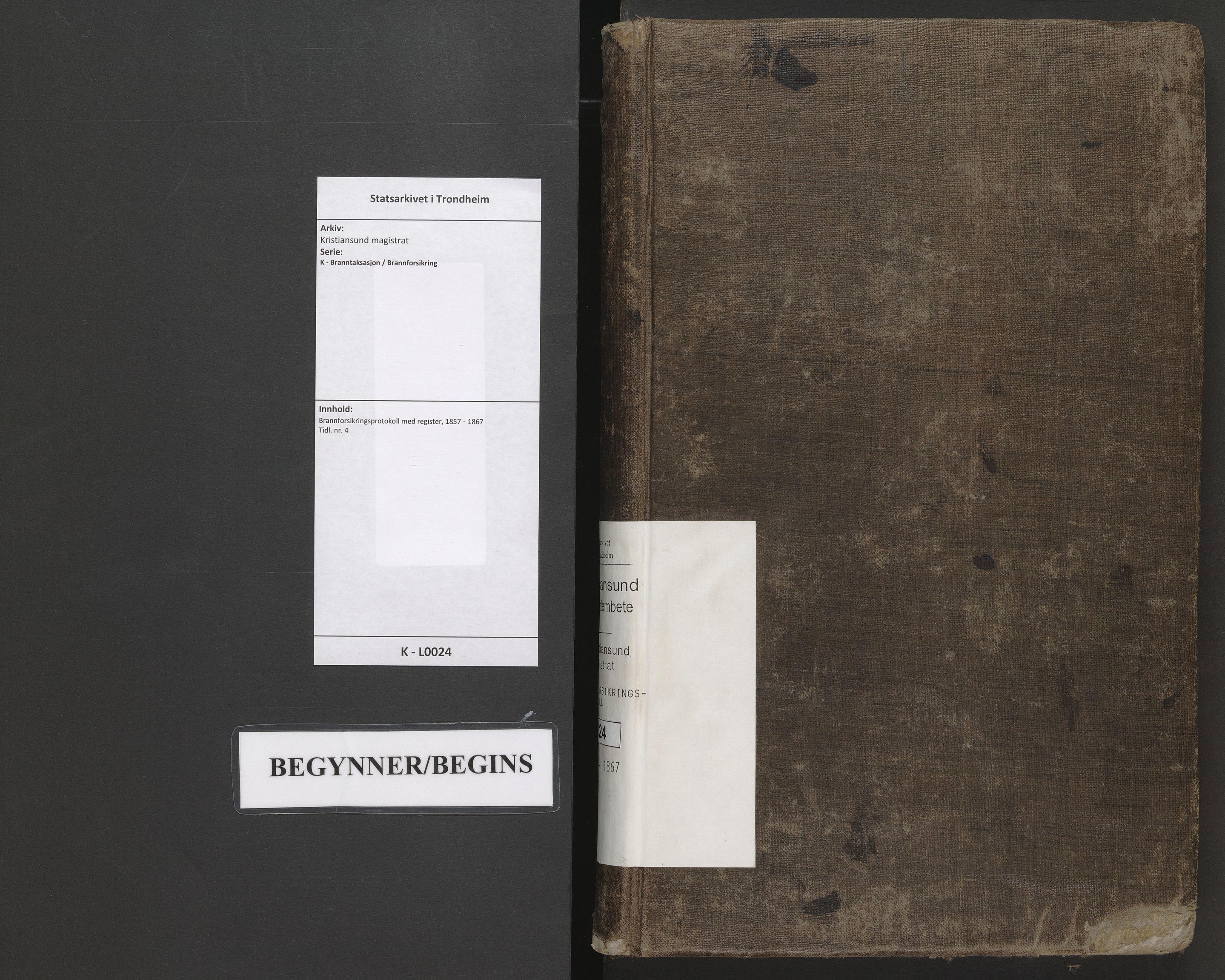 SAT, Kristiansund magistrat, K/L0024: Brannforsikringsprotokoll med register, 1857-1867