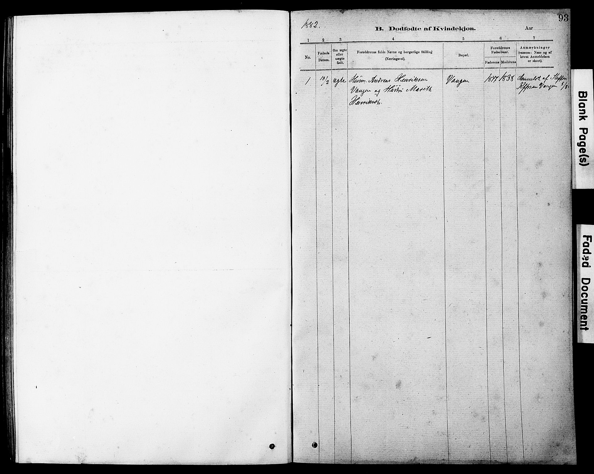 SAT, Ministerialprotokoller, klokkerbøker og fødselsregistre - Sør-Trøndelag, 647/L0636: Klokkerbok nr. 647C01, 1881-1884, s. 93