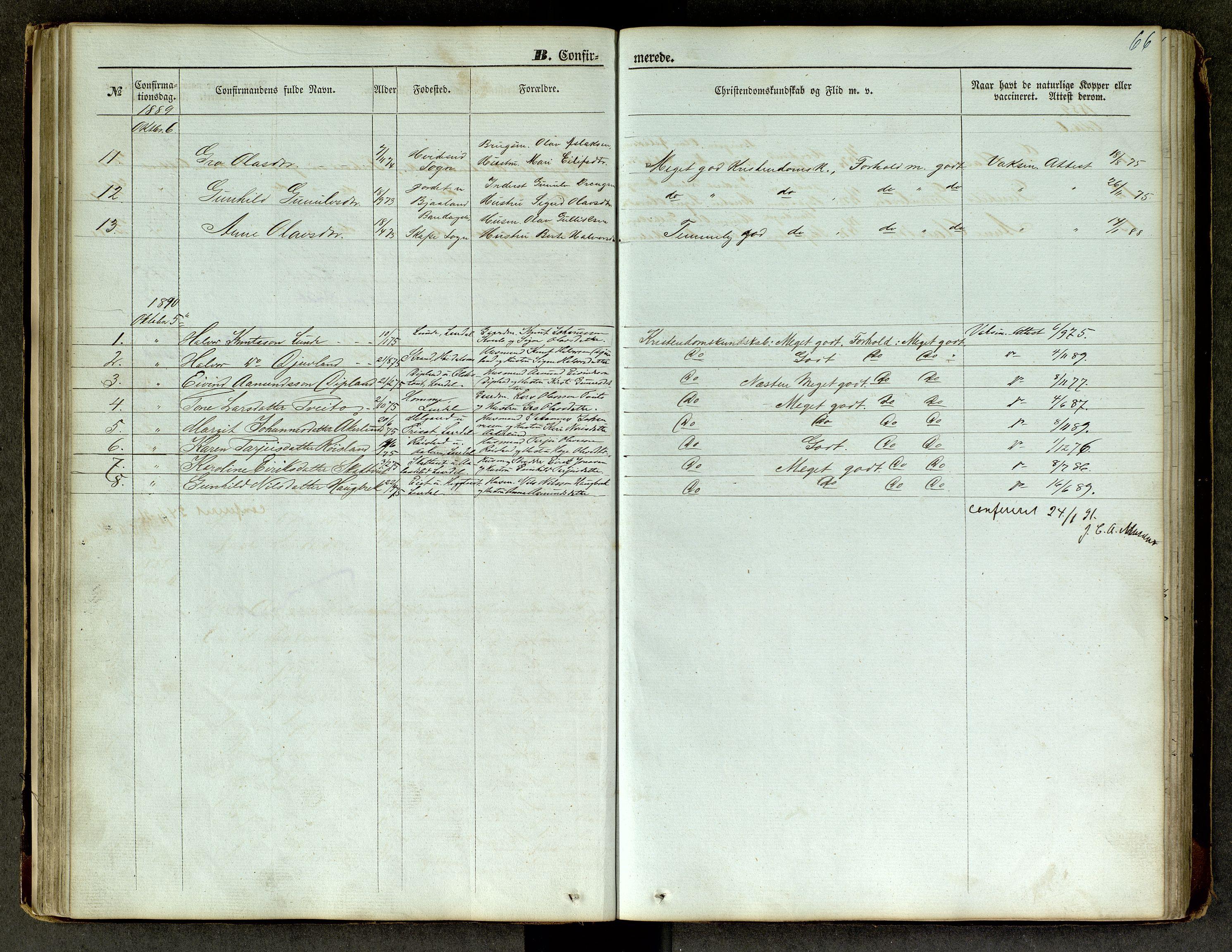 SAKO, Lårdal kirkebøker, G/Ga/L0002: Klokkerbok nr. I 2, 1861-1890, s. 66
