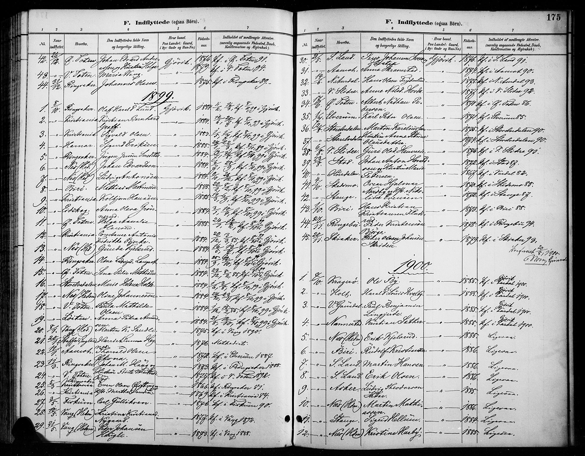 SAH, Vardal prestekontor, H/Ha/Haa/L0011: Ministerialbok nr. 11, 1891-1901, s. 175