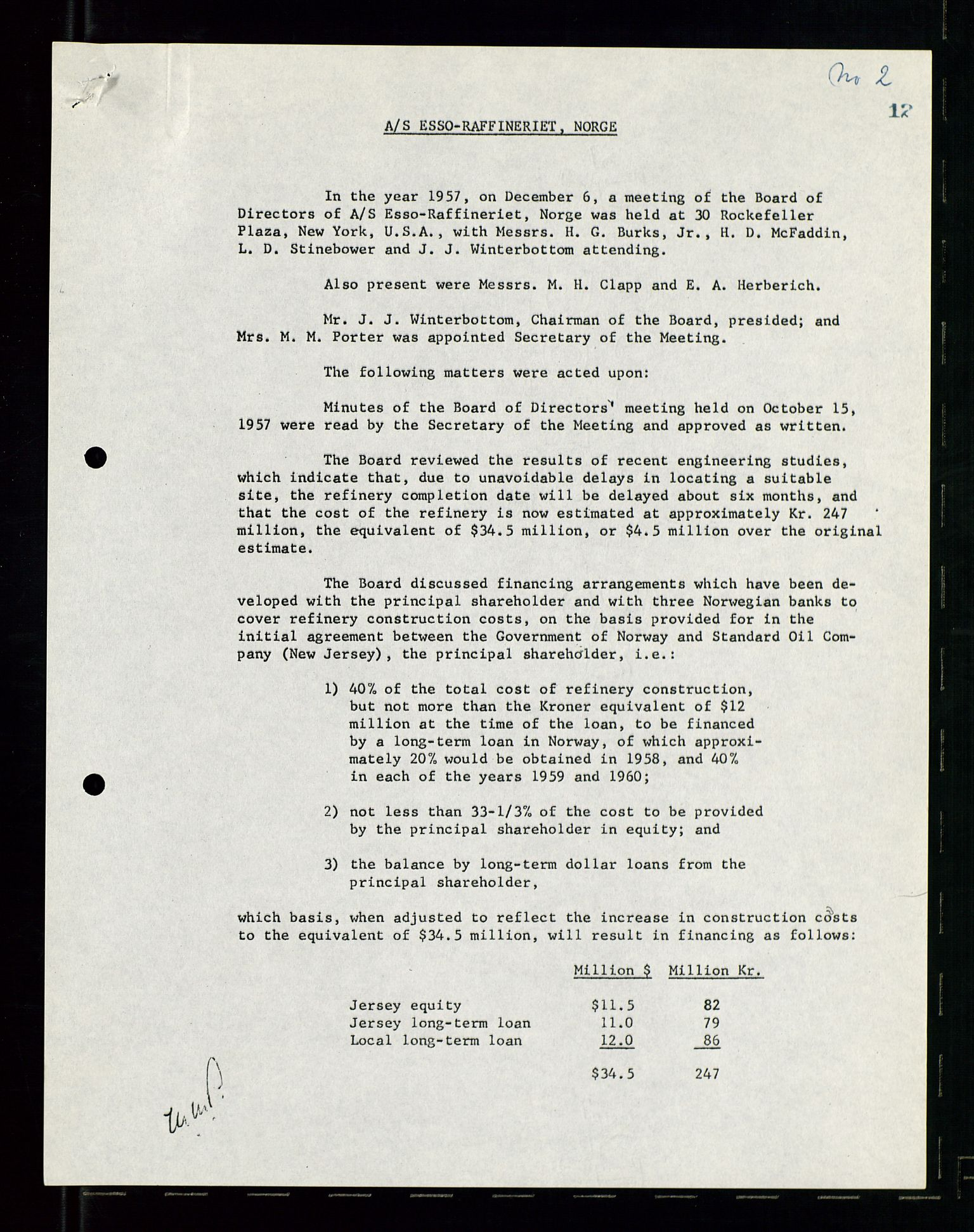 SAST, PA 1537 - A/S Essoraffineriet Norge, A/Aa/L0001: Styremøter, 1959-1961, s. 311