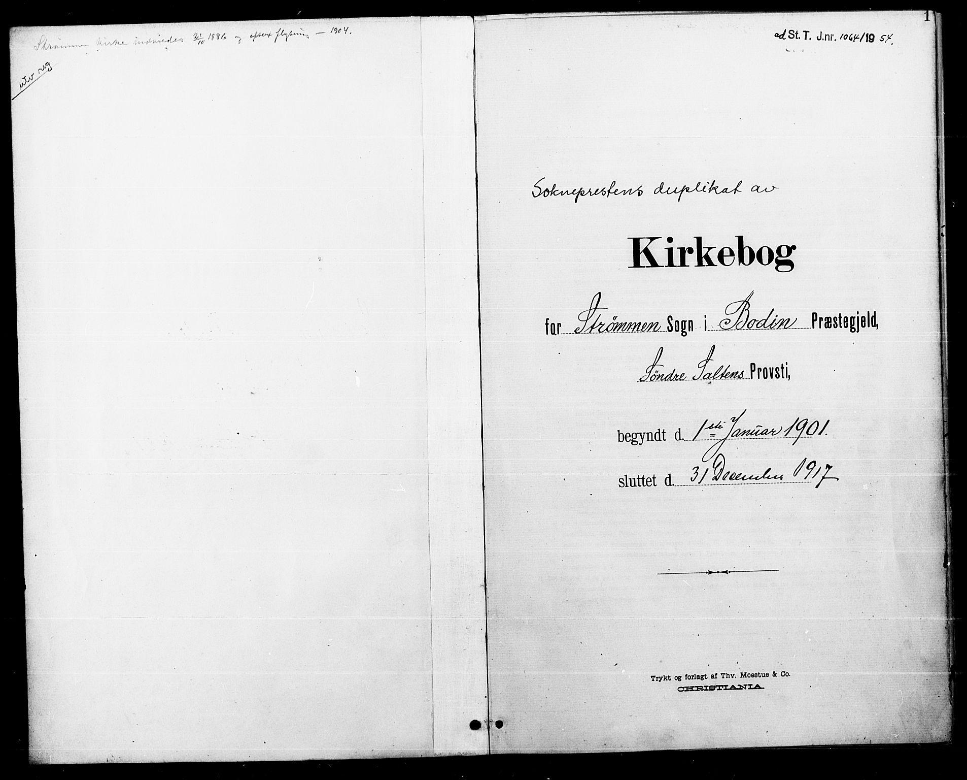 SAT, Ministerialprotokoller, klokkerbøker og fødselsregistre - Nordland, 804/L0088: Klokkerbok nr. 804C01, 1901-1917, s. 1