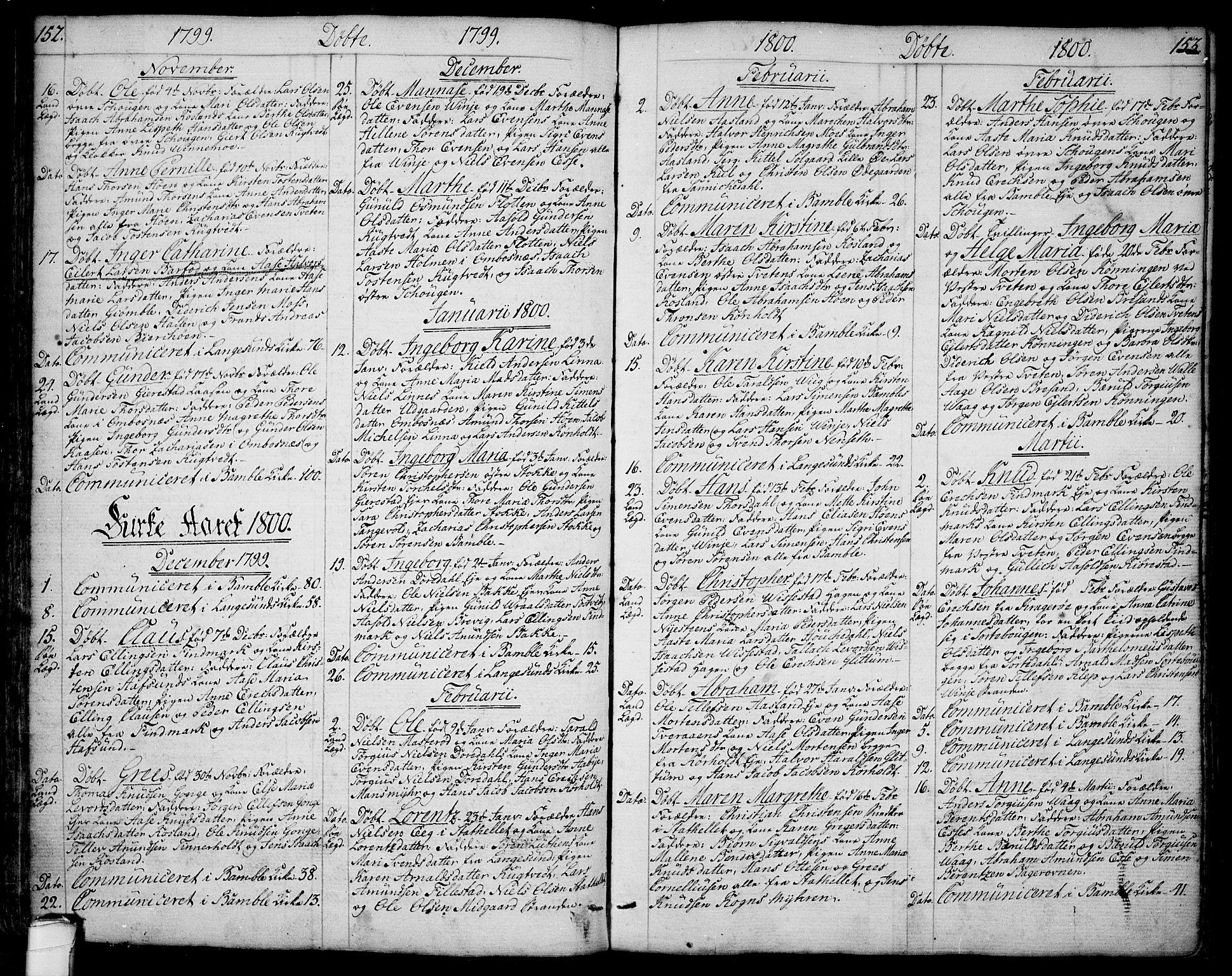 SAKO, Bamble kirkebøker, F/Fa/L0002: Ministerialbok nr. I 2, 1775-1814, s. 152-153