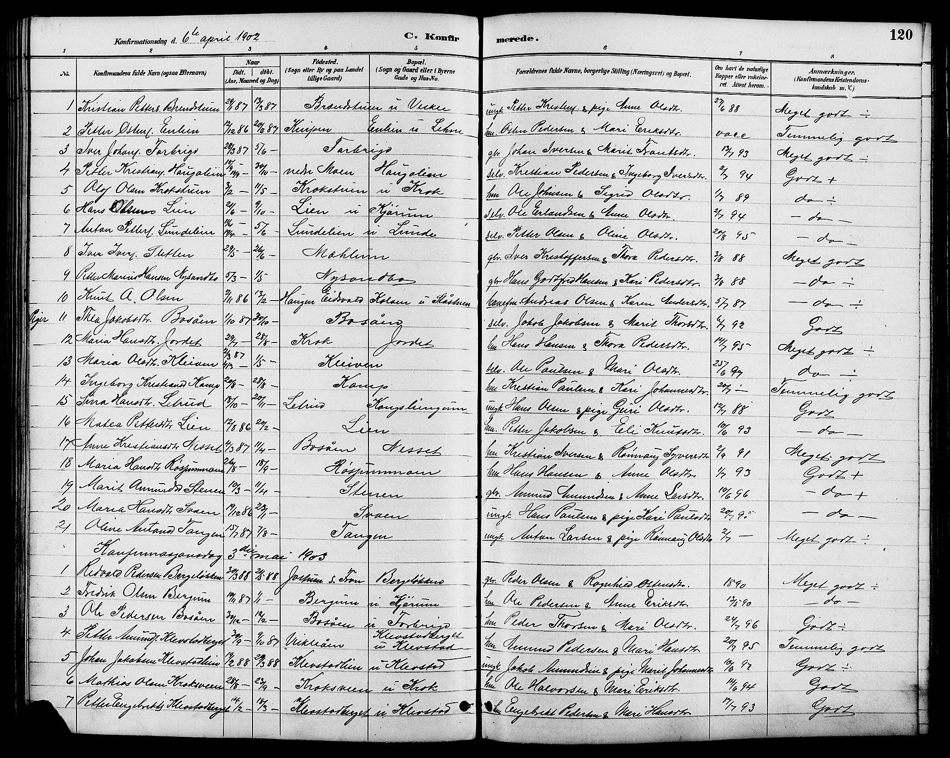 SAH, Nord-Fron prestekontor, Klokkerbok nr. 6, 1887-1914, s. 120