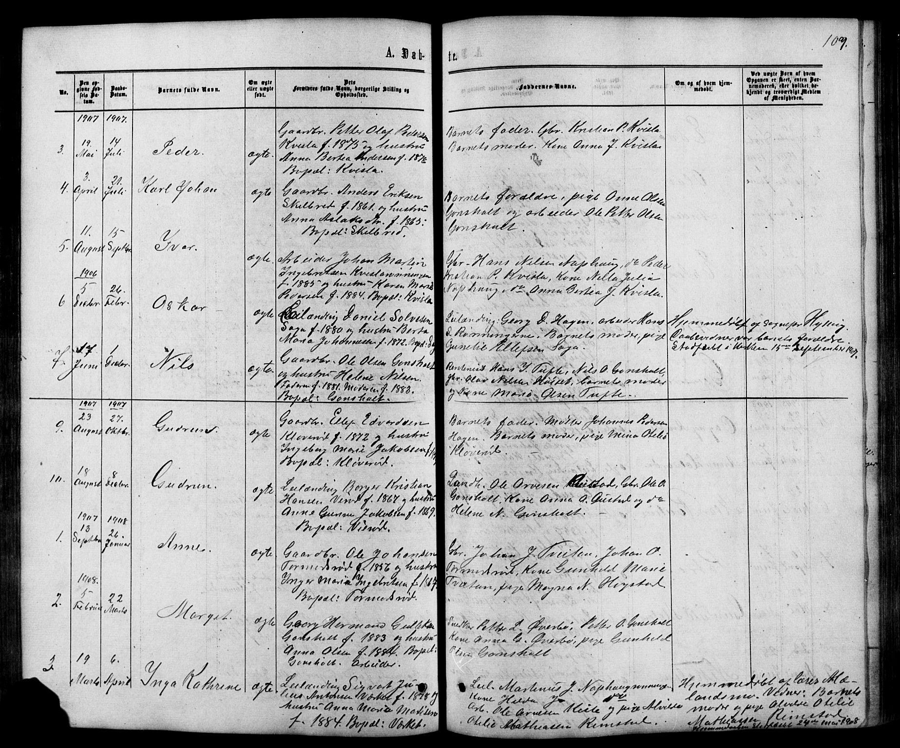 SAKO, Siljan kirkebøker, G/Ga/L0002: Klokkerbok nr. 2, 1864-1908, s. 107