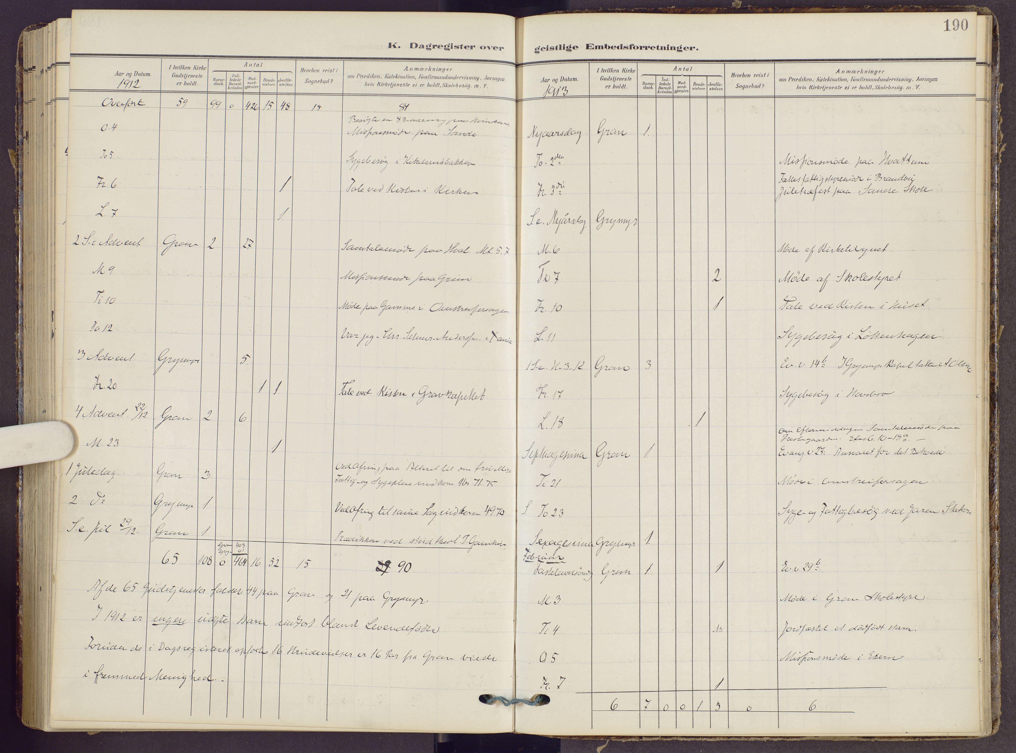 SAH, Gran prestekontor, Ministerialbok nr. 22, 1908-1918, s. 190
