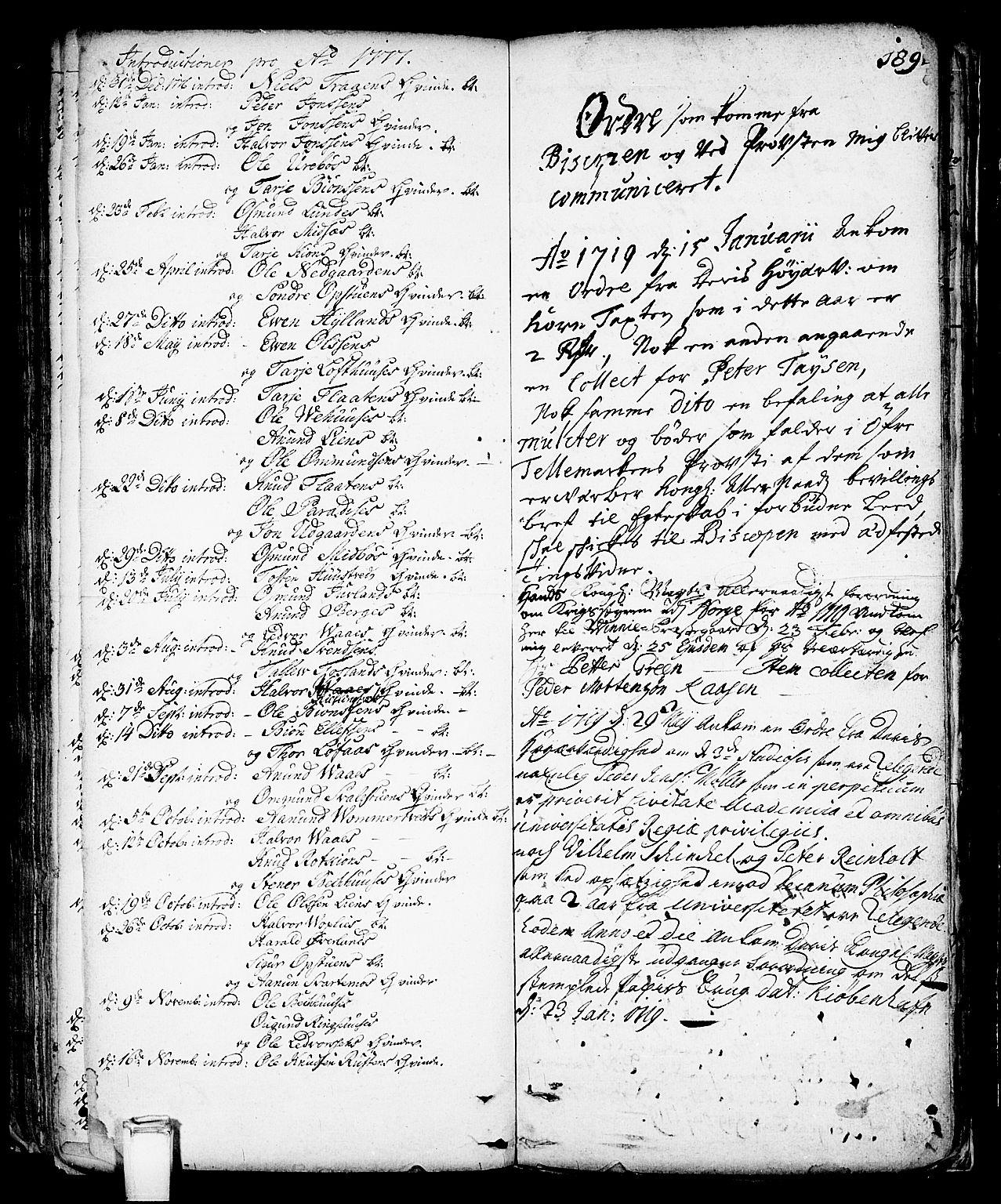 SAKO, Vinje kirkebøker, F/Fa/L0001: Ministerialbok nr. I 1, 1717-1766, s. 189