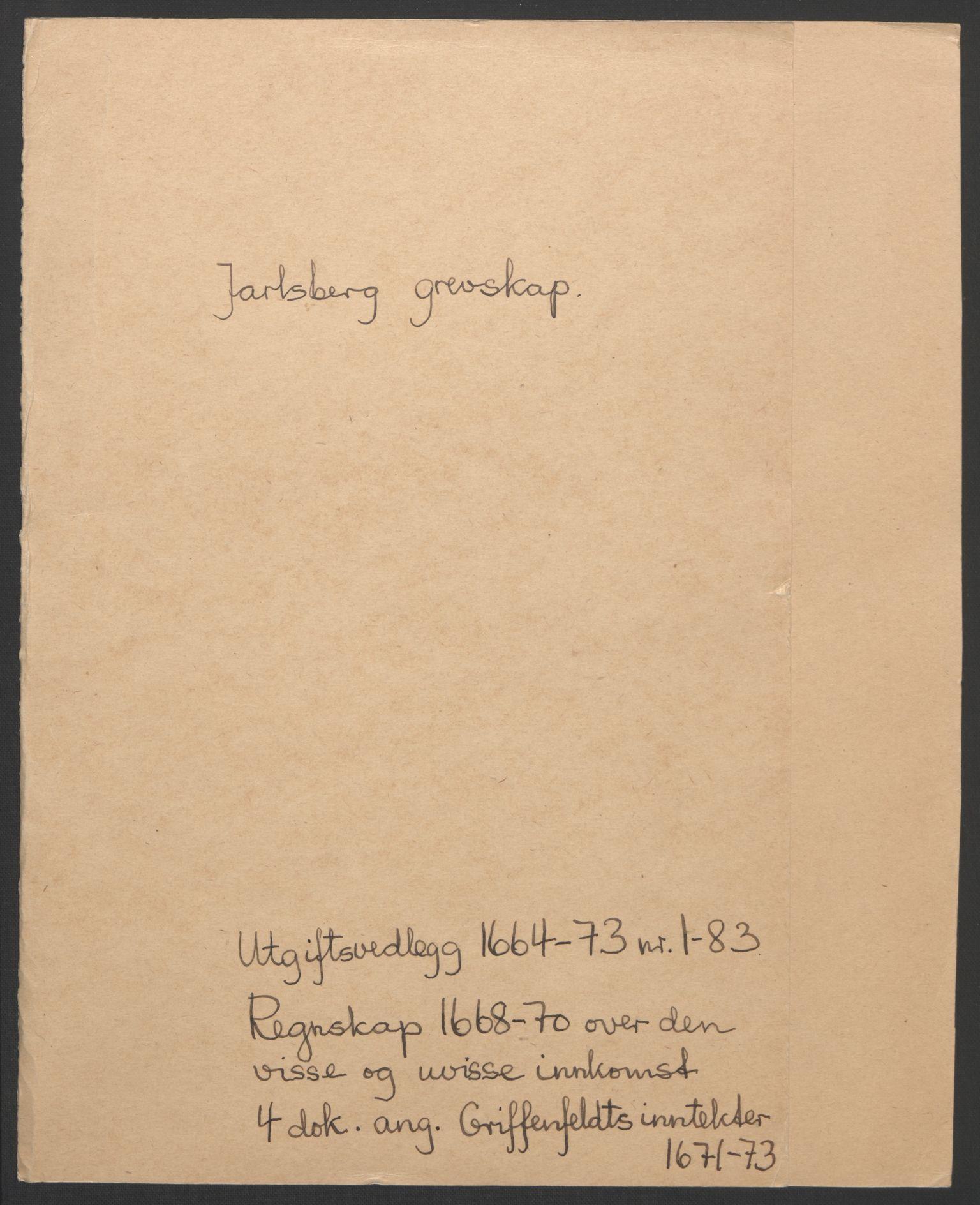 RA, Rentekammeret inntil 1814, Reviderte regnskaper, Fogderegnskap, R32/L1842: Fogderegnskap Jarlsberg grevskap, 1664-1673, s. 2