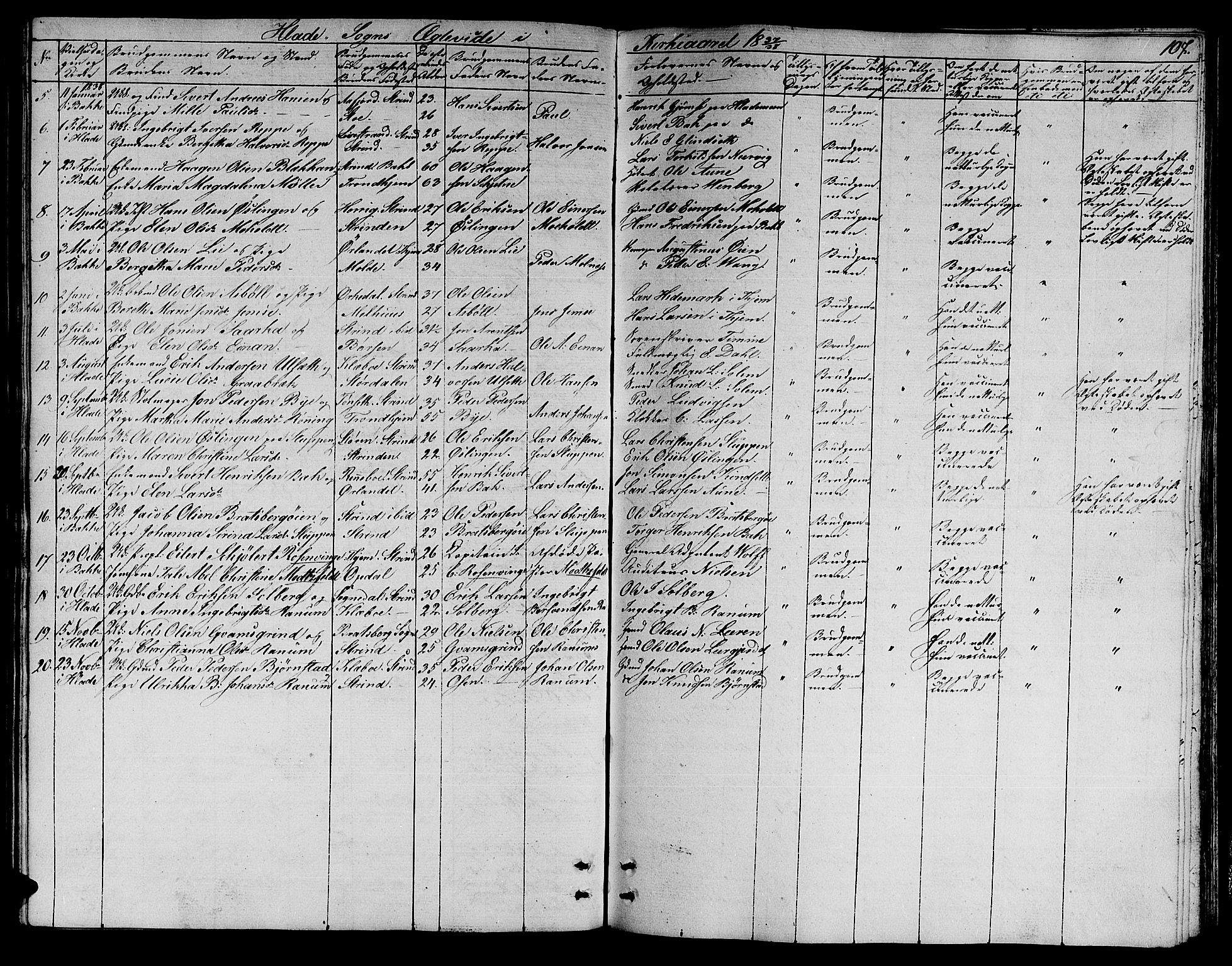 SAT, Ministerialprotokoller, klokkerbøker og fødselsregistre - Sør-Trøndelag, 606/L0308: Klokkerbok nr. 606C04, 1829-1840, s. 107