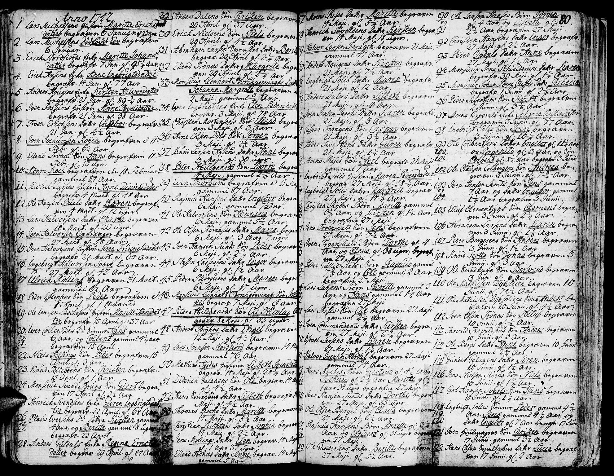 SAT, Ministerialprotokoller, klokkerbøker og fødselsregistre - Sør-Trøndelag, 681/L0925: Ministerialbok nr. 681A03, 1727-1766, s. 80