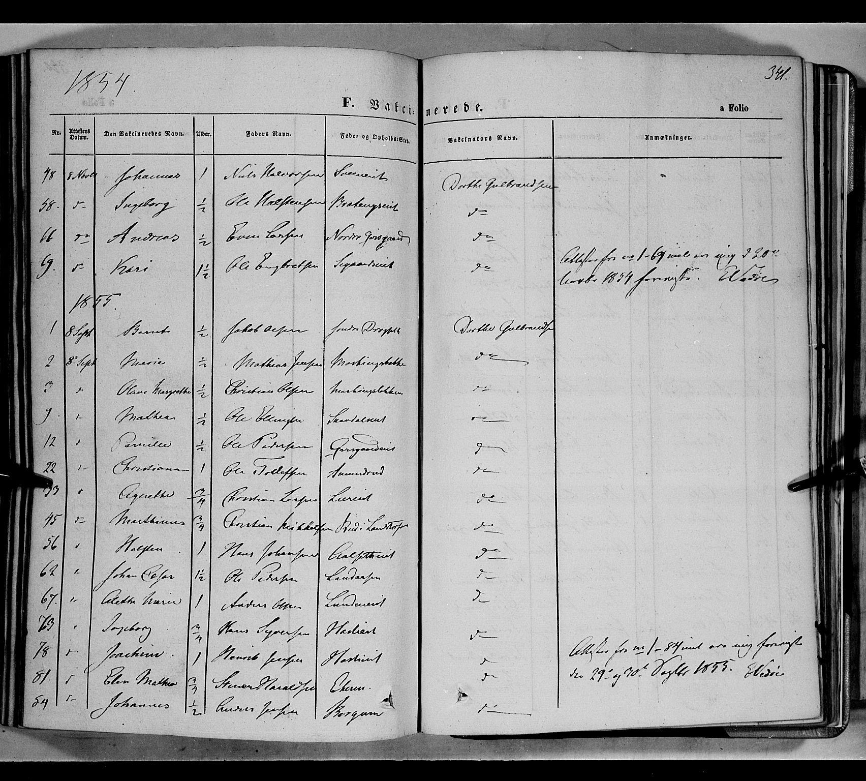 SAH, Biri prestekontor, Ministerialbok nr. 5, 1843-1854, s. 341
