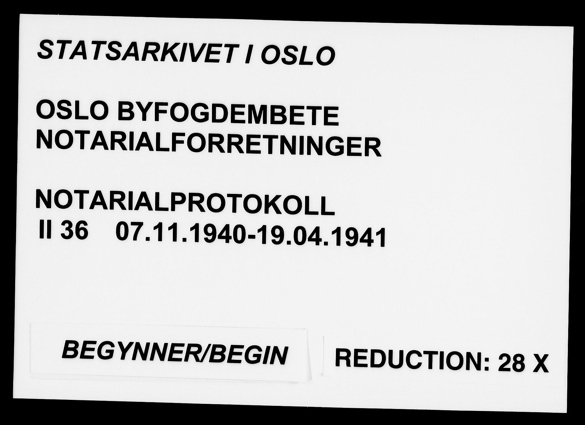 SAO, Oslo byfogd avd. I, L/Lb/Lbb/L0036: Notarialprotokoll, rekke II: Vigsler, 1940-1941, s. upaginert