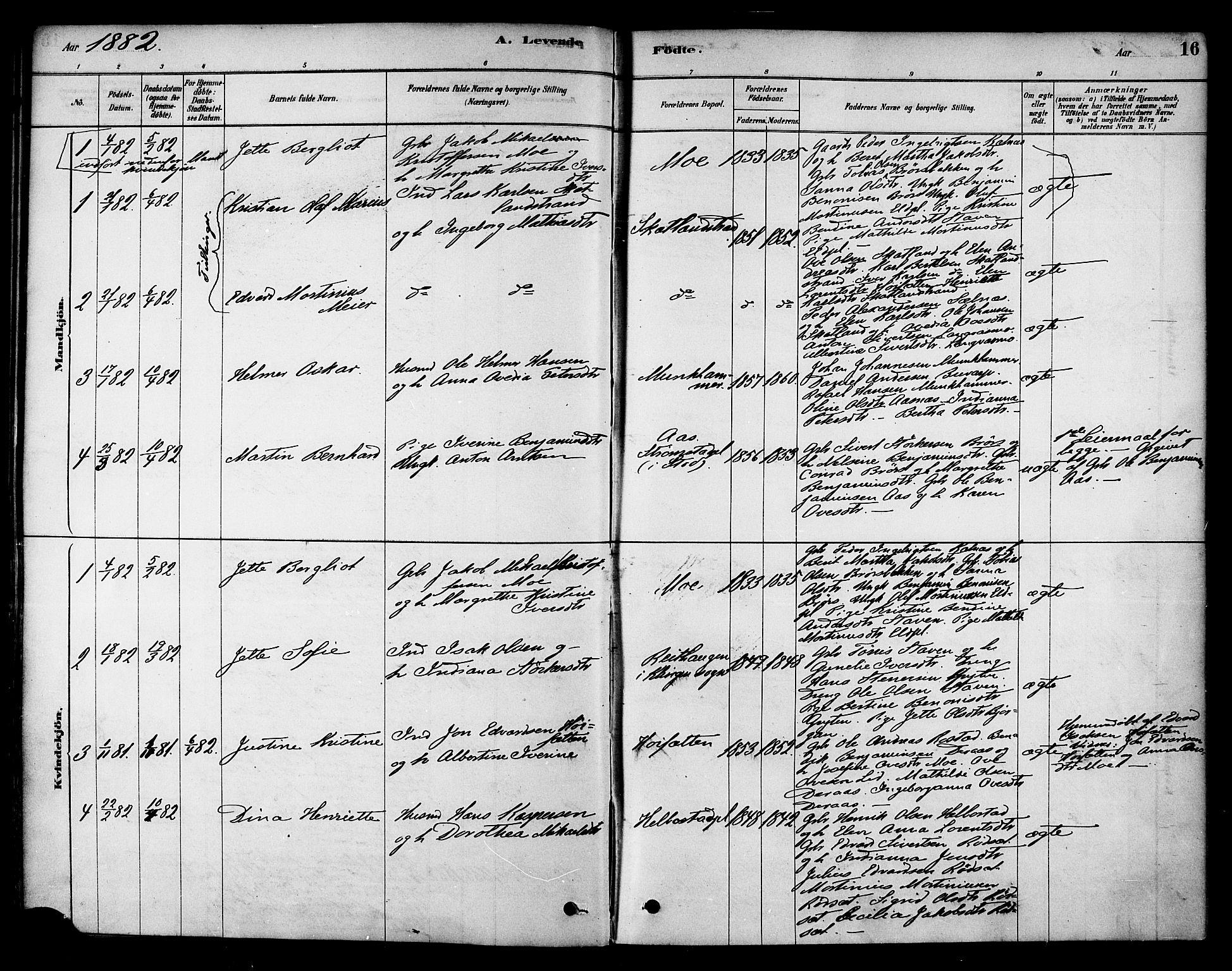 SAT, Ministerialprotokoller, klokkerbøker og fødselsregistre - Nord-Trøndelag, 742/L0408: Ministerialbok nr. 742A01, 1878-1890, s. 16