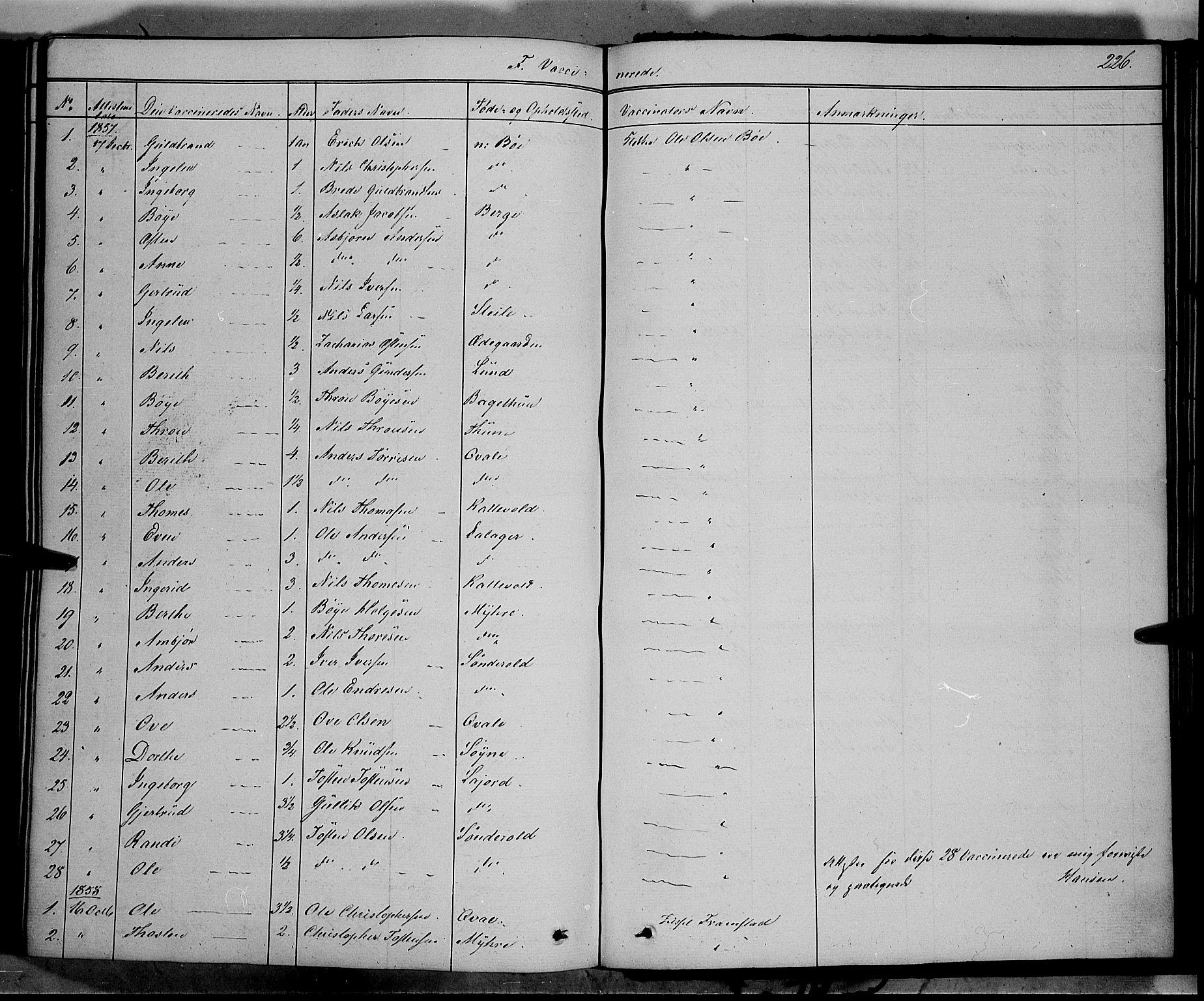 SAH, Vang prestekontor, Valdres, Ministerialbok nr. 6, 1846-1864, s. 226