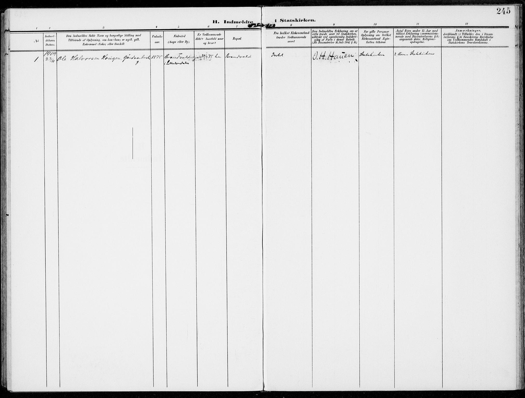 SAH, Alvdal prestekontor, Ministerialbok nr. 4, 1907-1919, s. 245